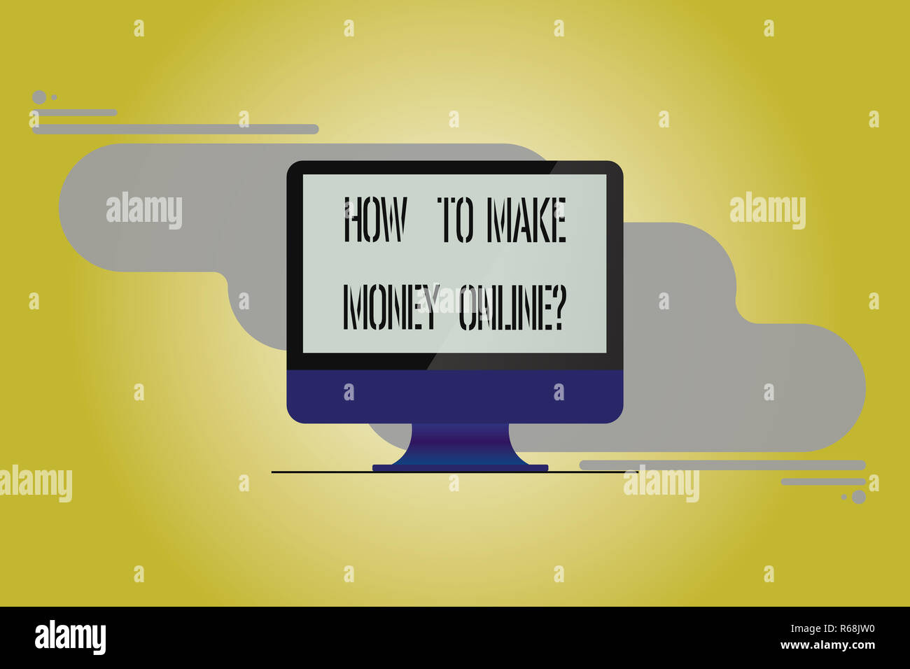 Conceptual hand writing showing How To Make Money Onlinequestion. Business photo showcasing Strategies to get earnings on the internet Mounted Compute Stock Photo