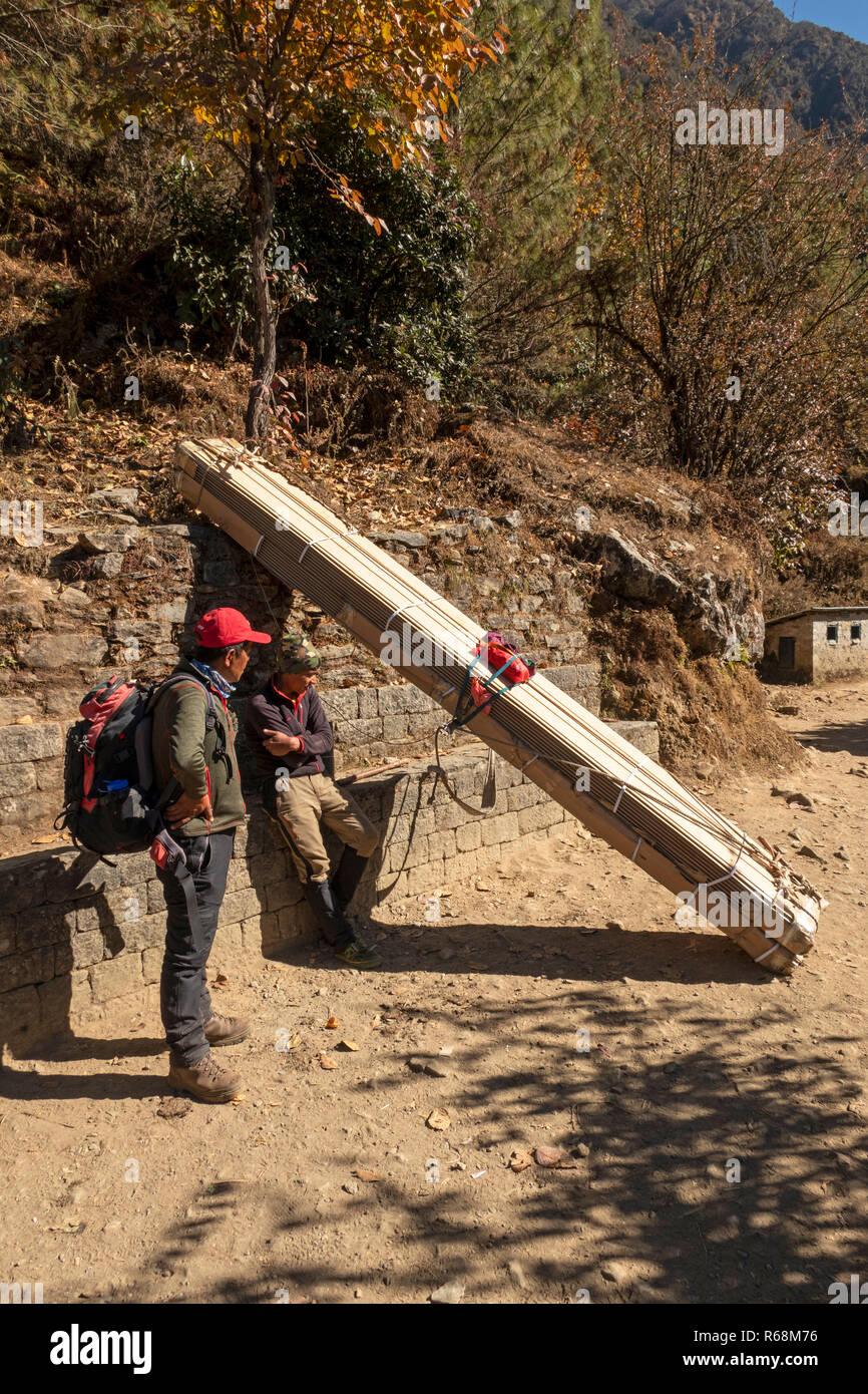 Nepal, Lukla, Lomdza, porter carrying 100Kg load of wood resting beside path to Phakding - Stock Image