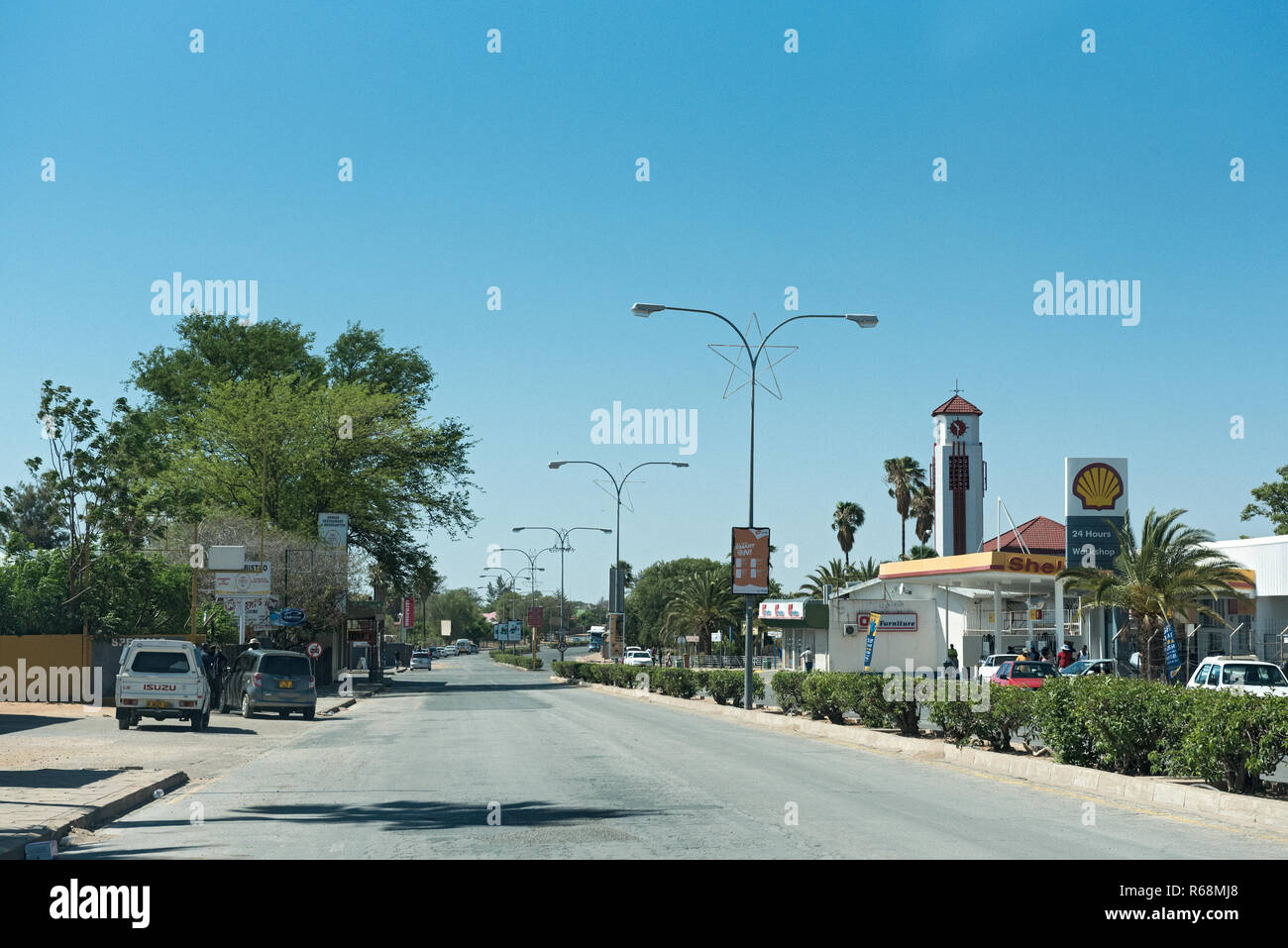main street in the city of gobabis in the east of namibia - Stock Image