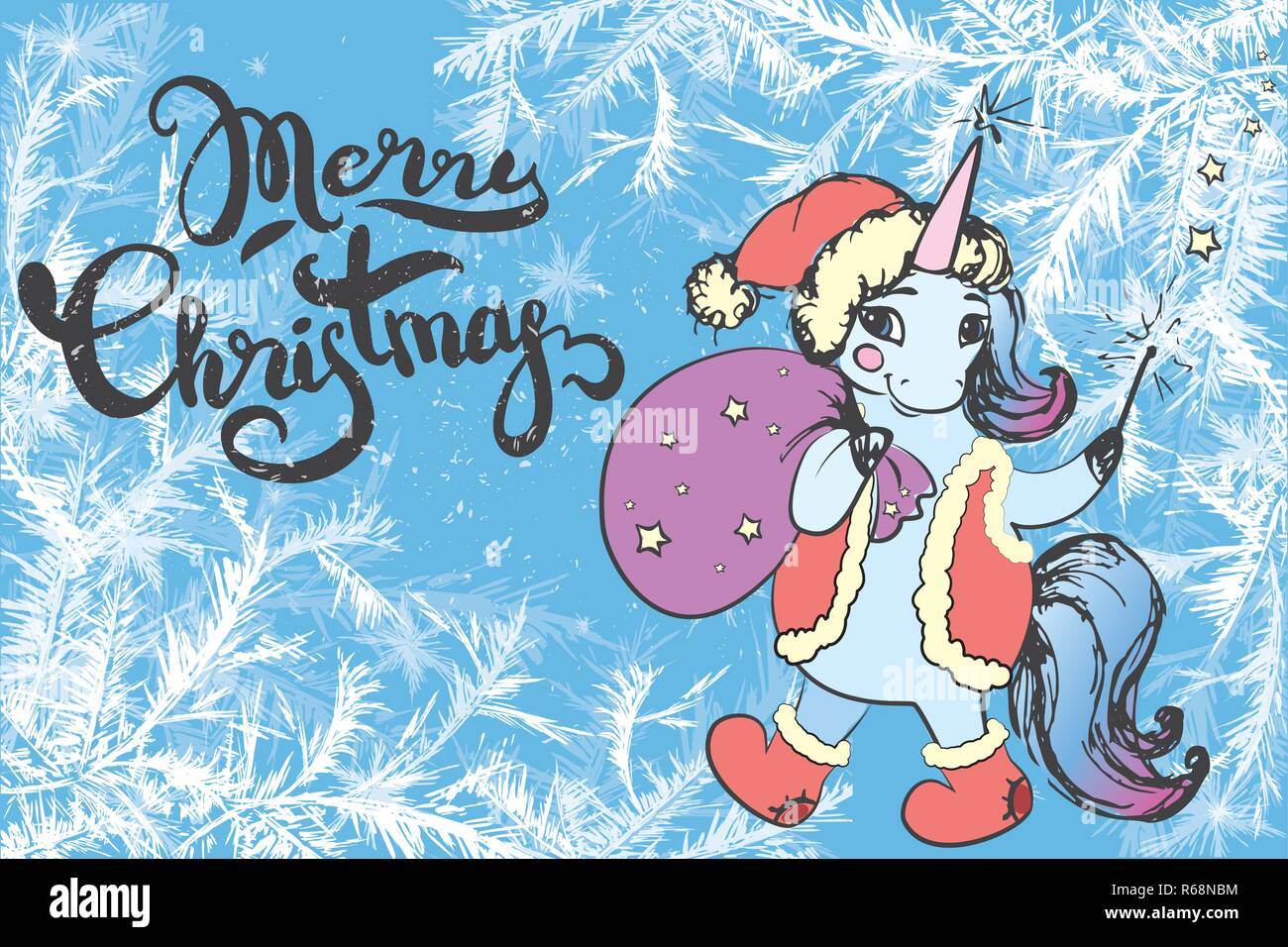 Merry Christmas Lettering On Frost Background And Cute Xmas