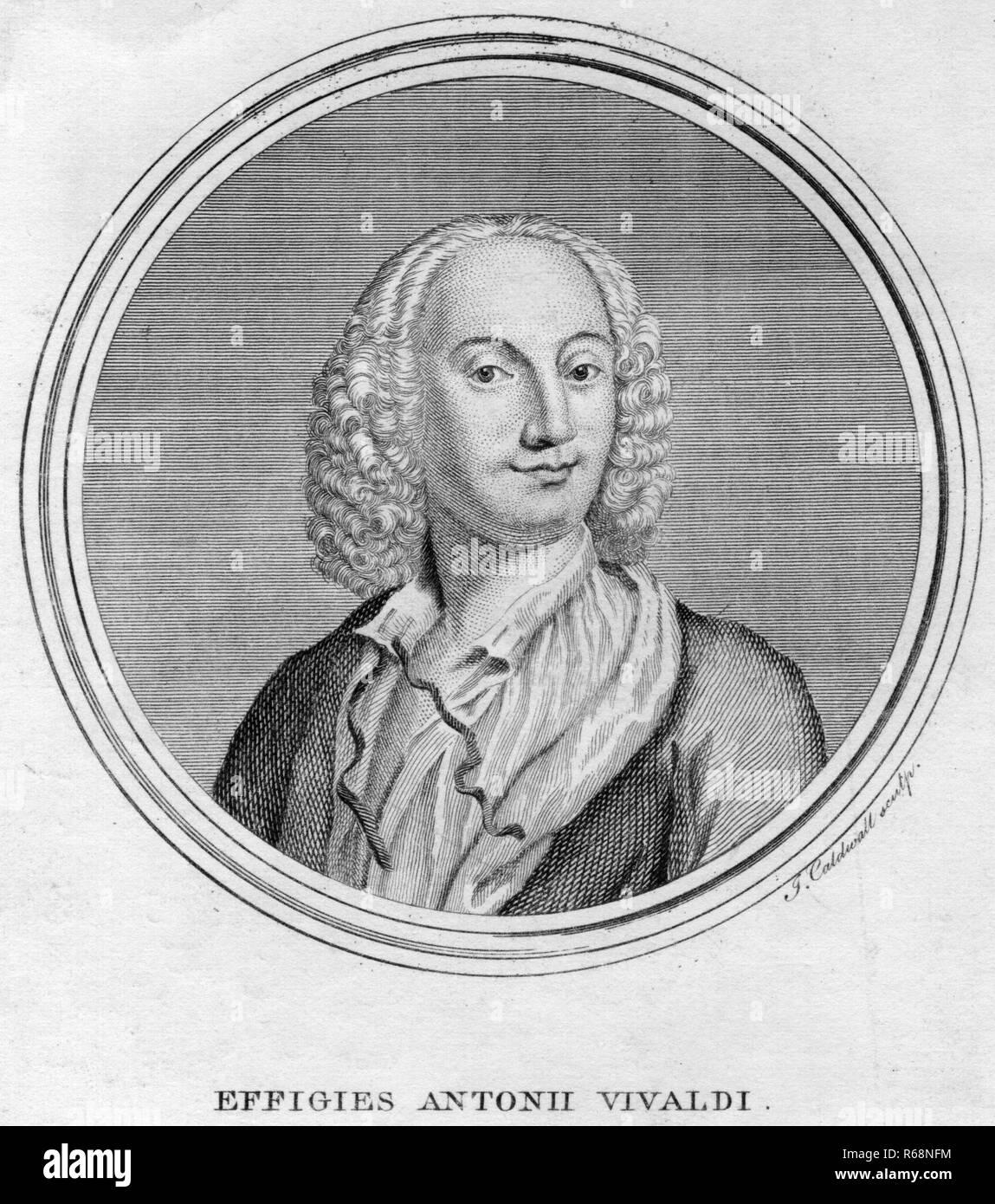 Italian violinist and composer Antonio Vivaldi (1678 - 1741), circa 1725.   (Photo by Hulton Archive/Getty Images) - Stock Image