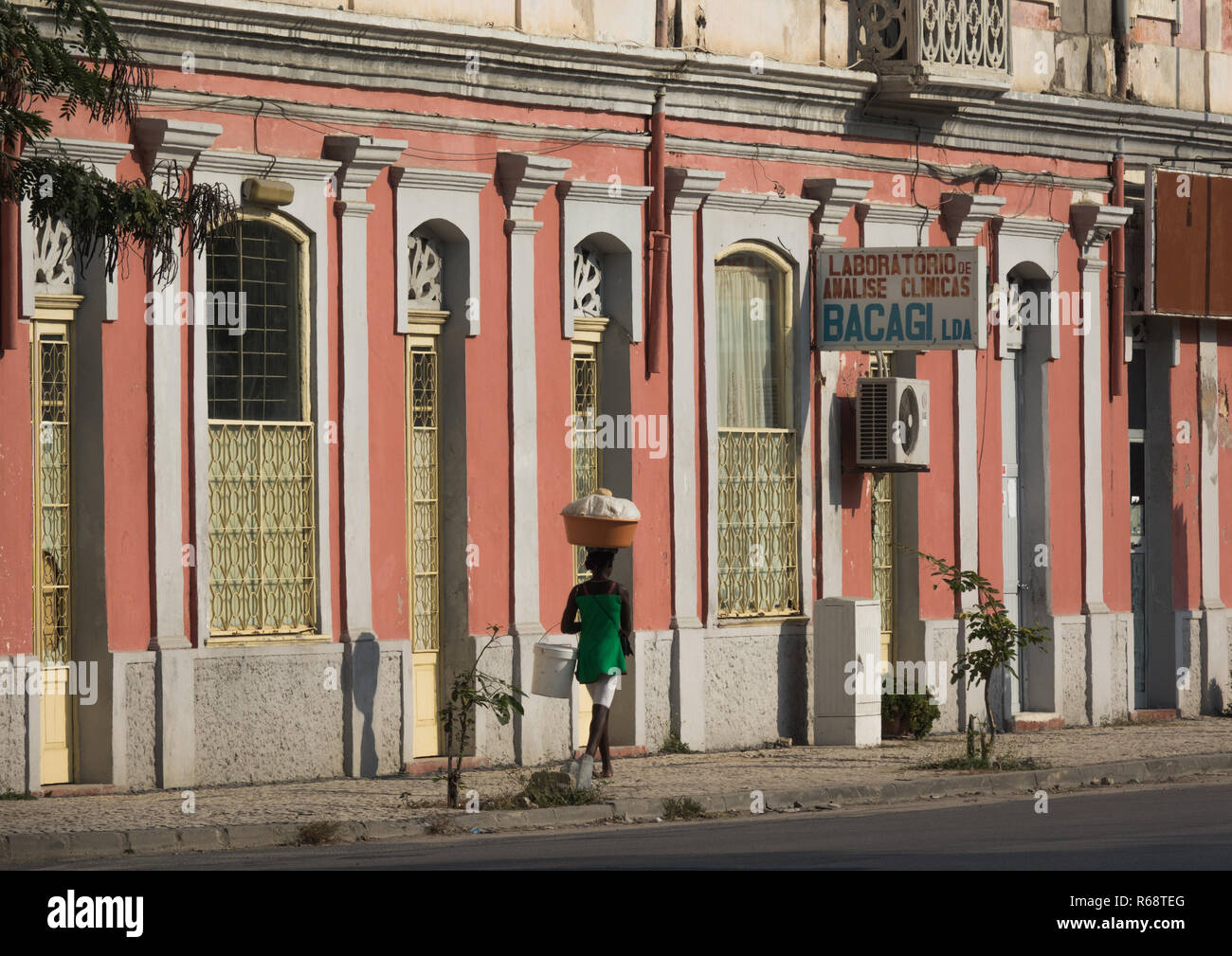 Old Portuguese style colonial building, Benguela Province, Lobito, Angola - Stock Image