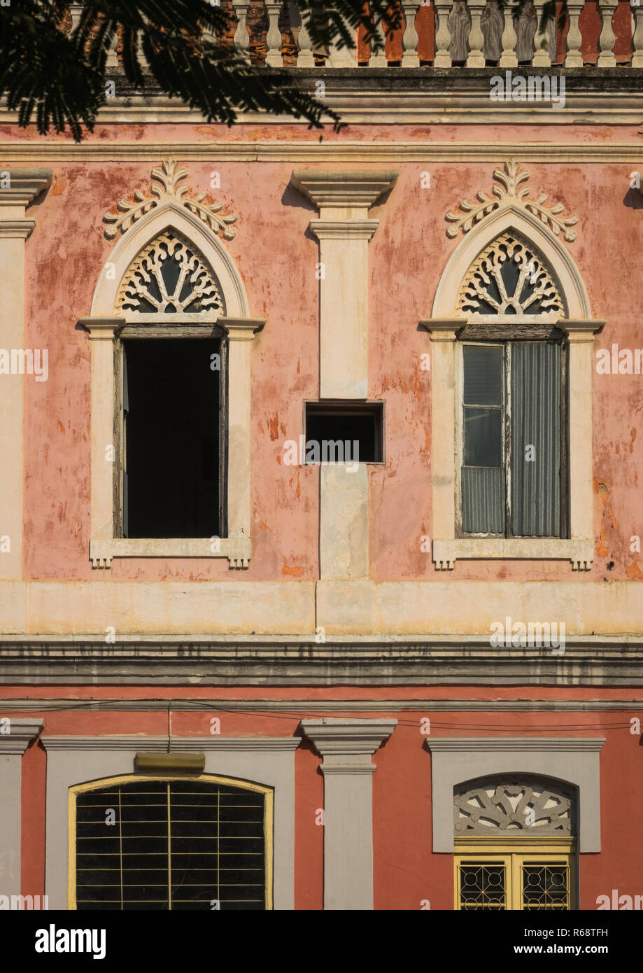 Windows from an old Portuguese style colonial building, Benguela Province, Lobito, Angola - Stock Image