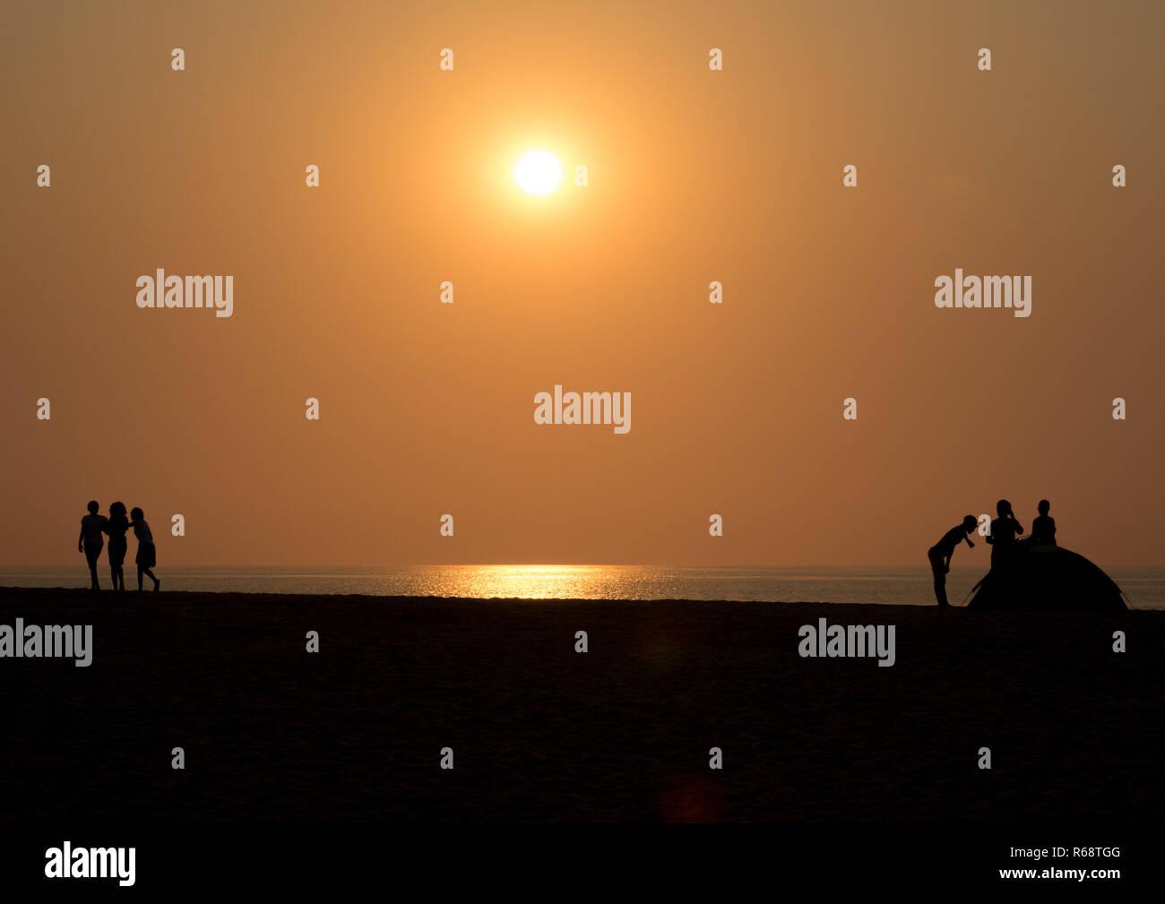Sunset on the beach, Benguela Province, Lobito, Angola Stock Photo