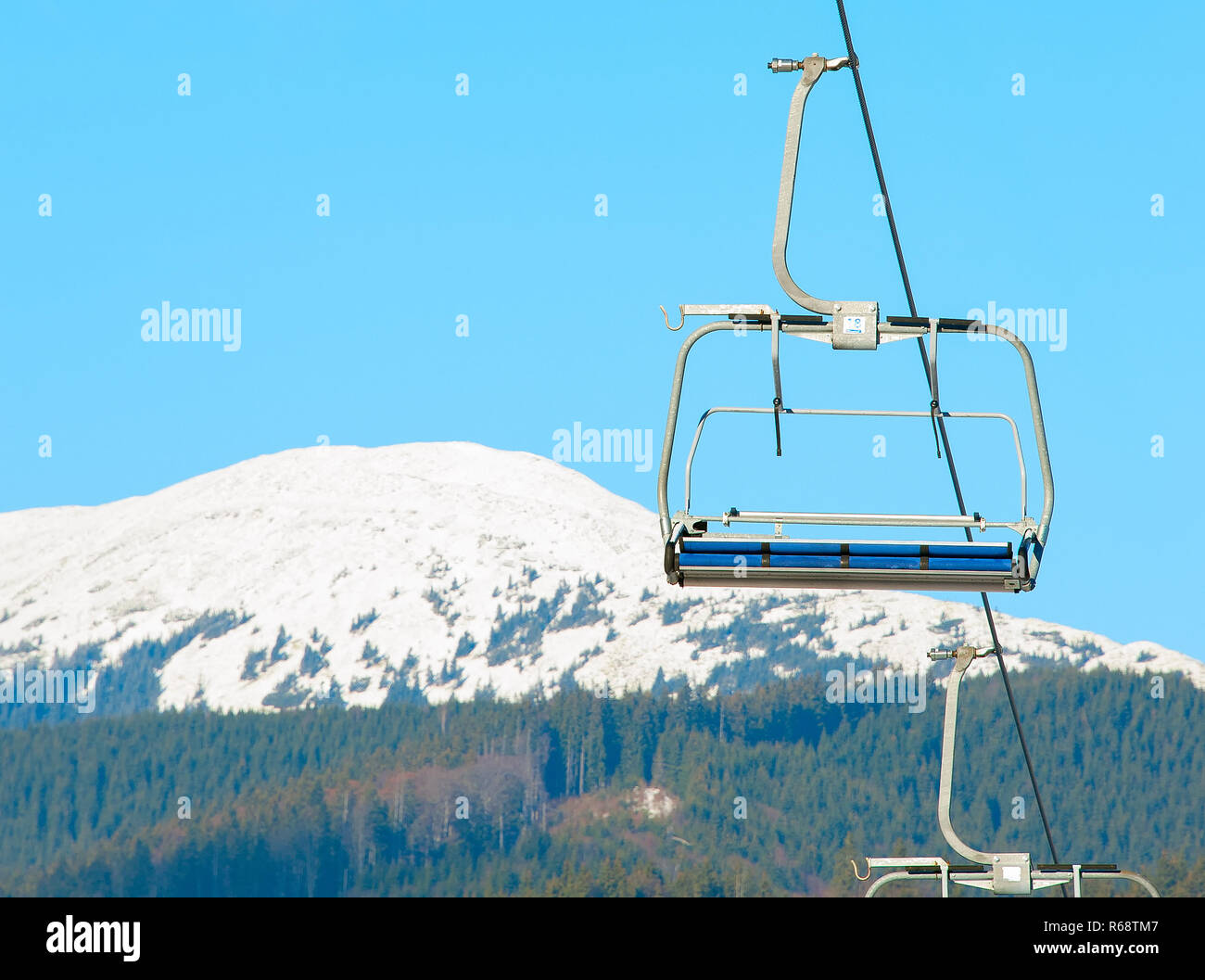 Cable cars at ski resort - Stock Image