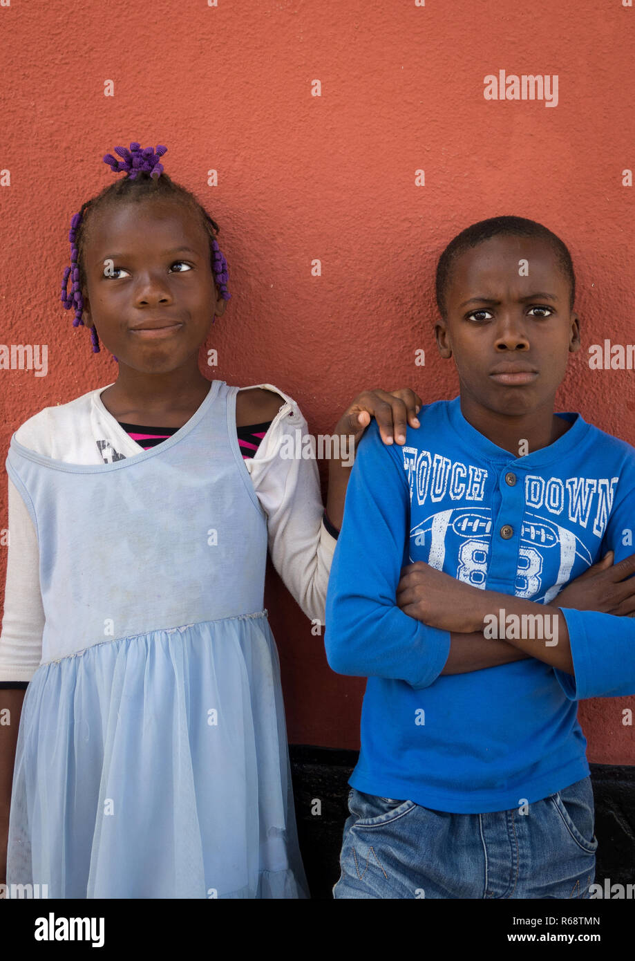 Portrait of Angolan teenagers after the church service, Benguela Province, Catumbela, Angola - Stock Image