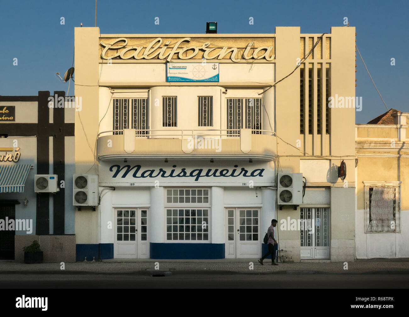 An Art Deco Portuguese style building turned into a fish shop, Benguela Province, Lobito, Angola - Stock Image