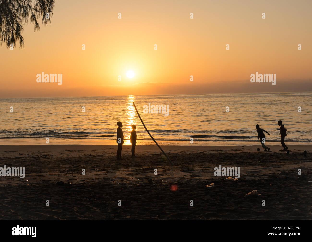 Sunset on the beach, Benguela Province, Benguela, Angola - Stock Image