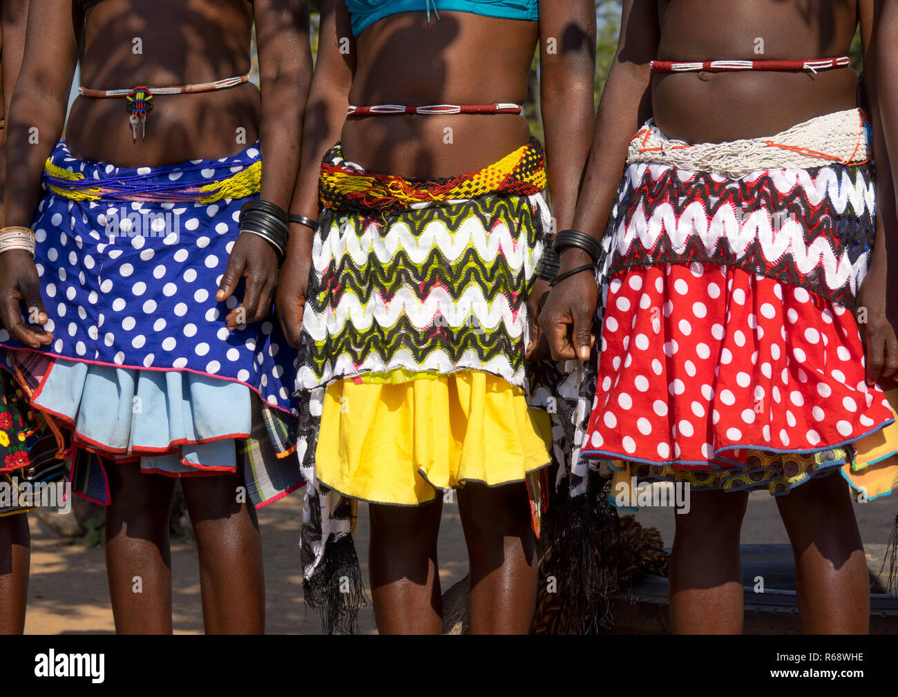 Traditional outfit of Mudimba tribe women, Cunene Province, Cahama, Angola - Stock Image