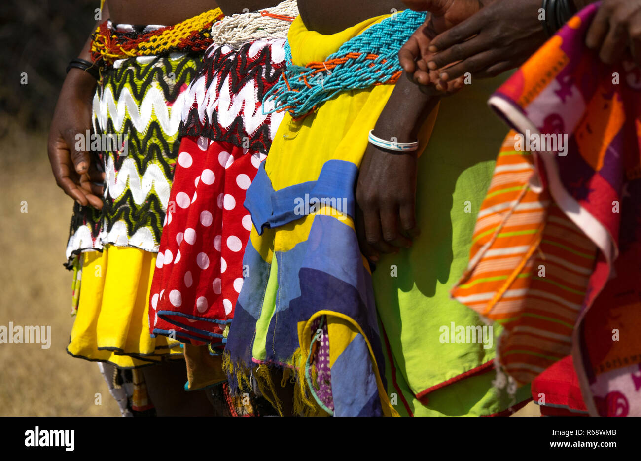 Mudimba tribe women wearing their traditional outfit, Cunene Province, Cahama, Angola - Stock Image