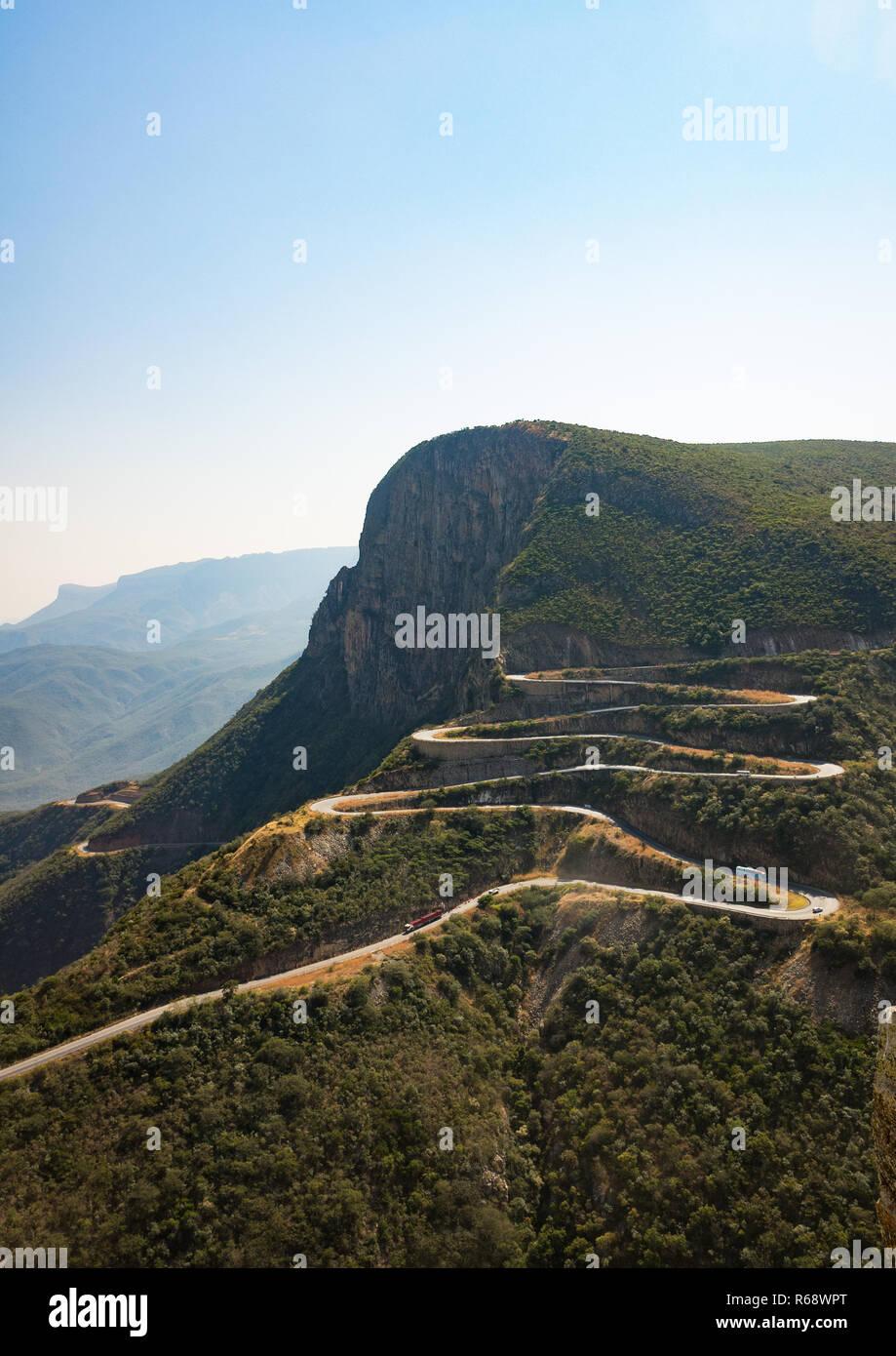 The winding road at serra da Leba overlooking the cliffs, Huila Province, Lubango, Angola - Stock Image