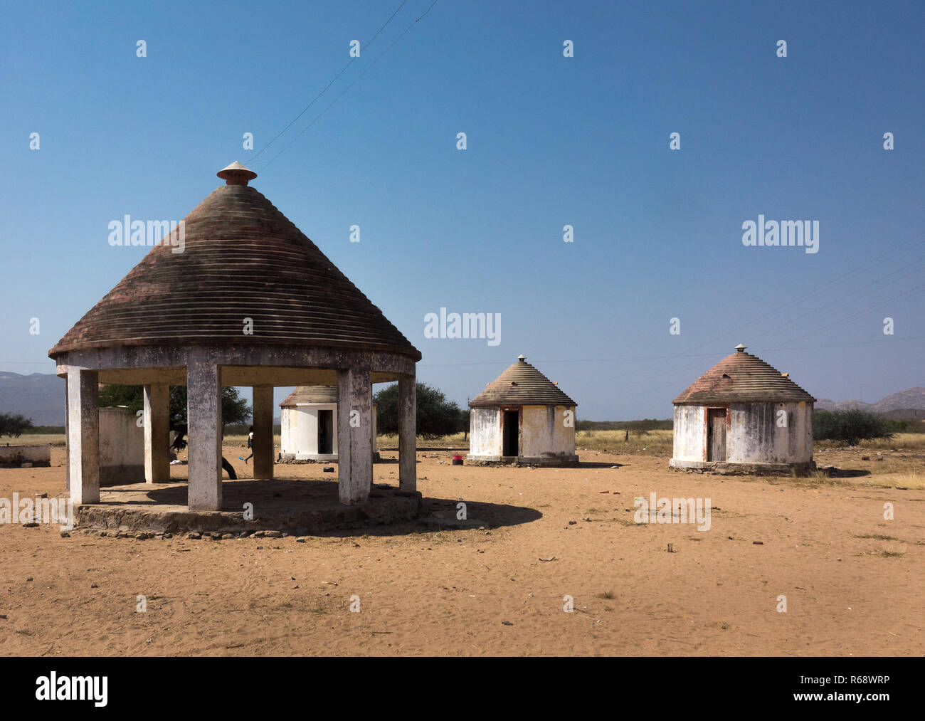 Village built by the portuguese with circular houses, Namibe Province, Caraculo, Angola - Stock Image