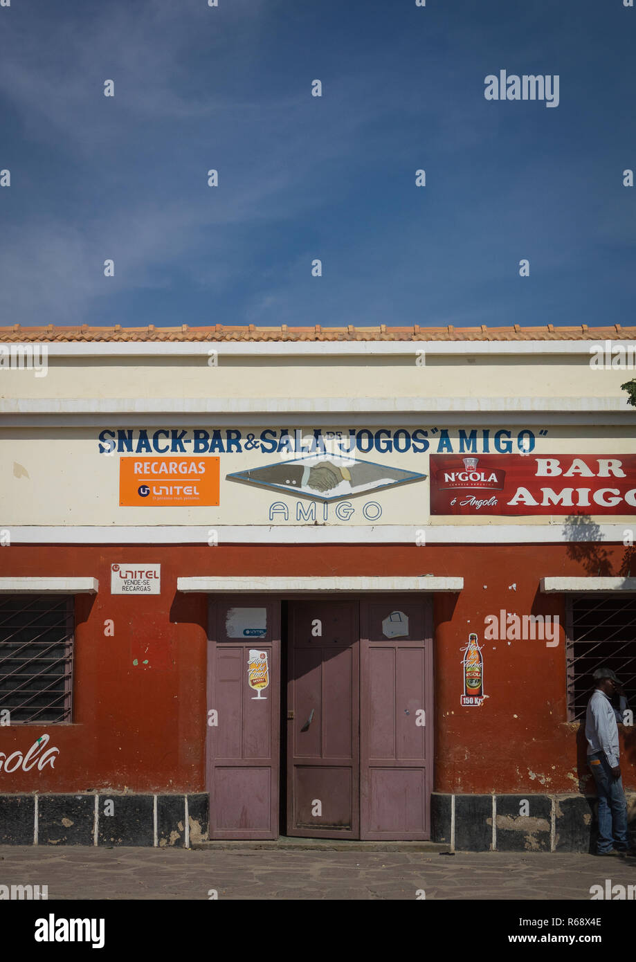 Snack bar in an old portuguese colonial building, Namibe Province, Namibe, Angola Stock Photo