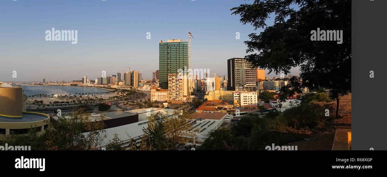 Panoramic view of the Marginal promenade in Luanda city center at sunset, Luanda Province, Luanda, Angola - Stock Image