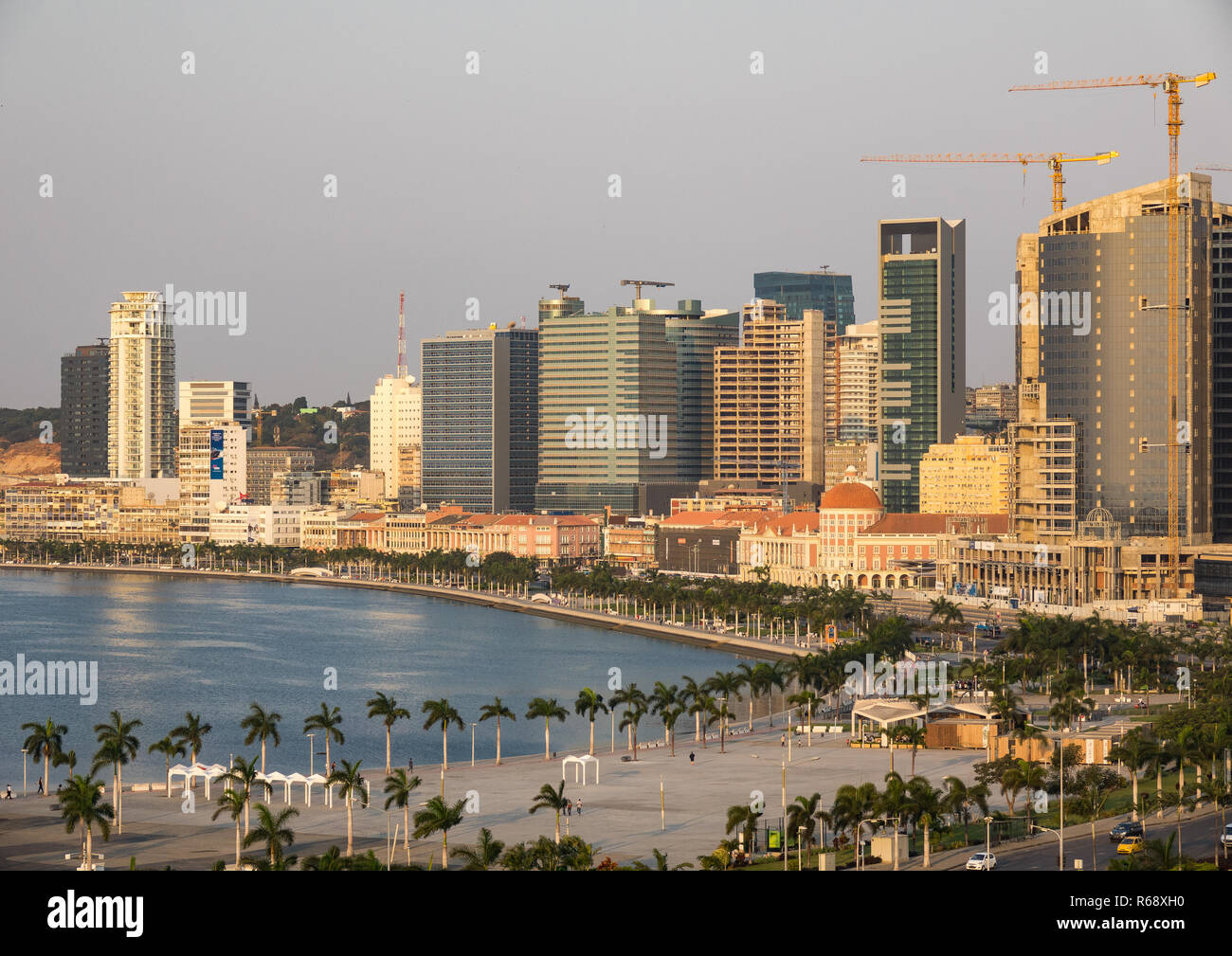 View of the Marginal promenade in Luanda city center at sunset, Luanda Province, Luanda, Angola - Stock Image