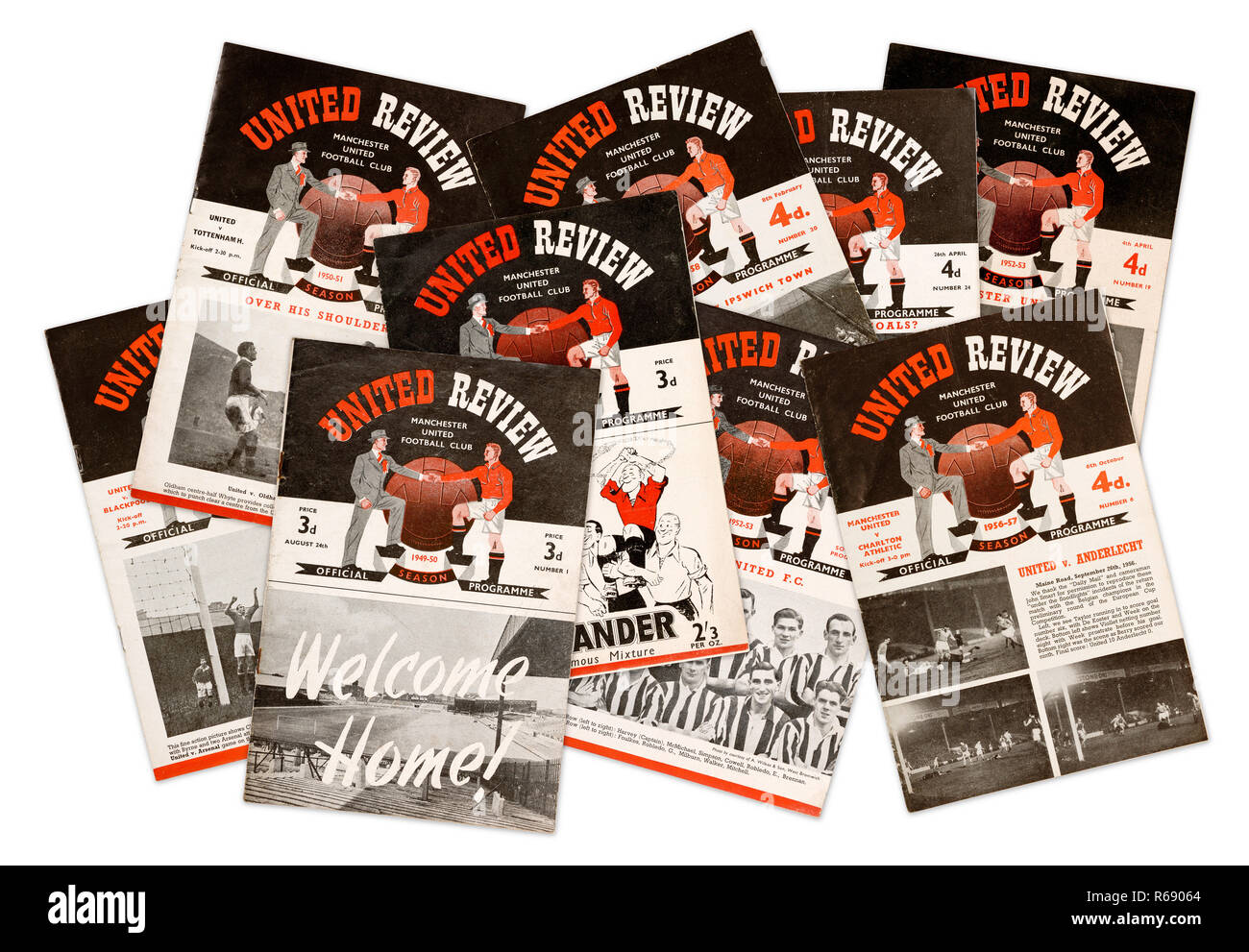 A collection of United Review official programmes for Manchester United Football Club from the 1940's and 1950's (digital composite) - Stock Image