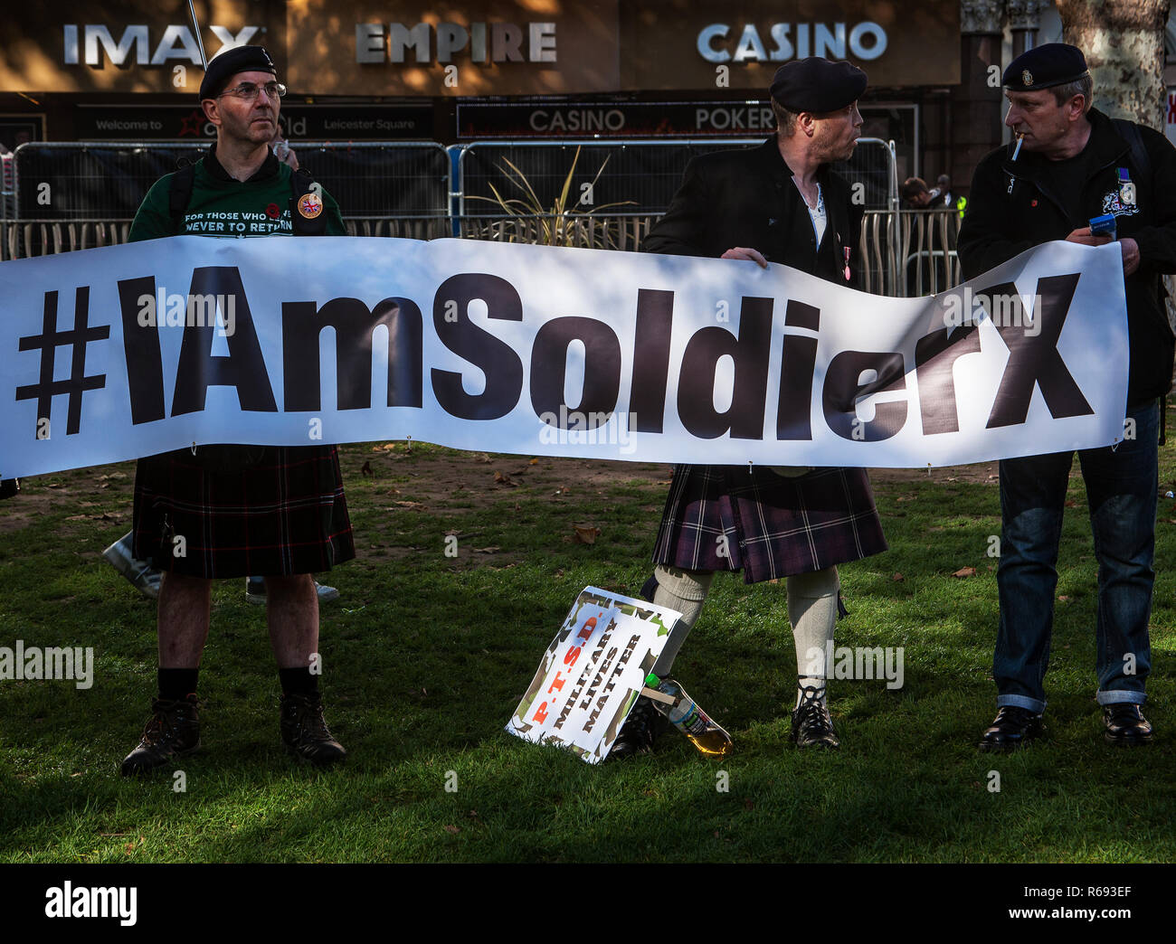 Veterans and families march to protest against P.T.S.D and to raise awareness of veterans suicides. - Stock Image