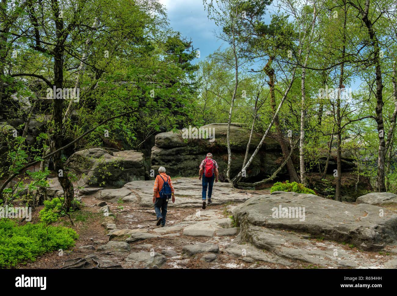 Seniors Hiking At The Pfaff Stone In Saxony - Stock Image