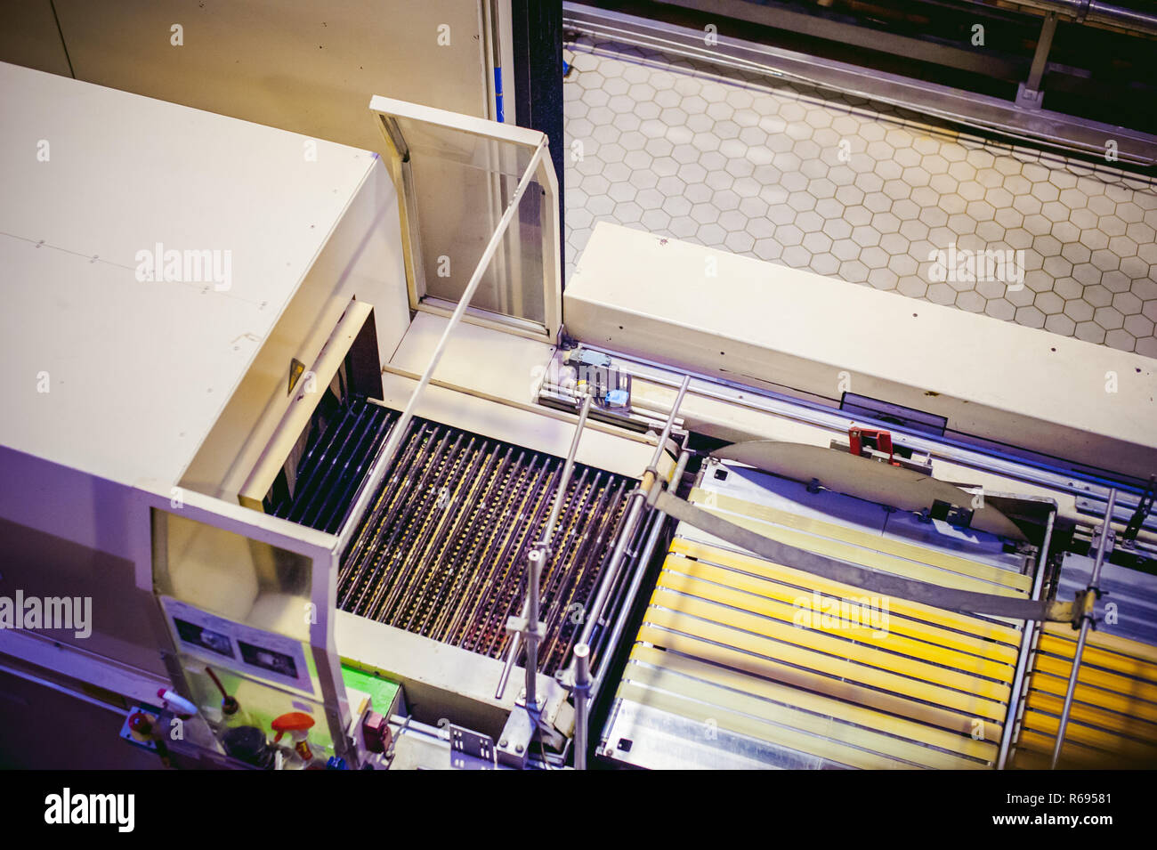 Beer production line. Equipment for the staged production and bottling of the finished product Stock Photo