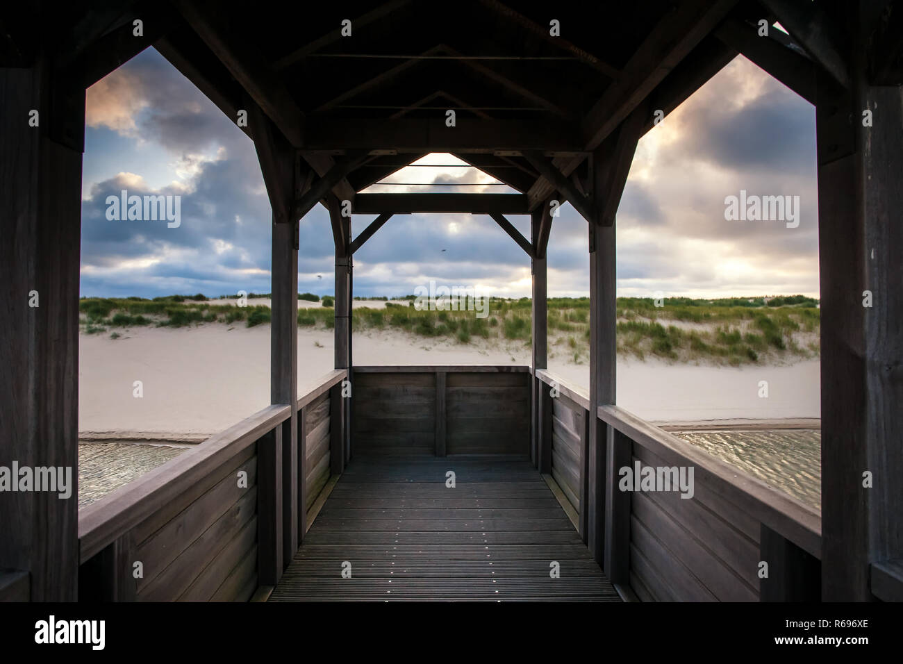 Viewpoint on artificial dunes along the Dutch coast near the coastal town of Petten Stock Photo