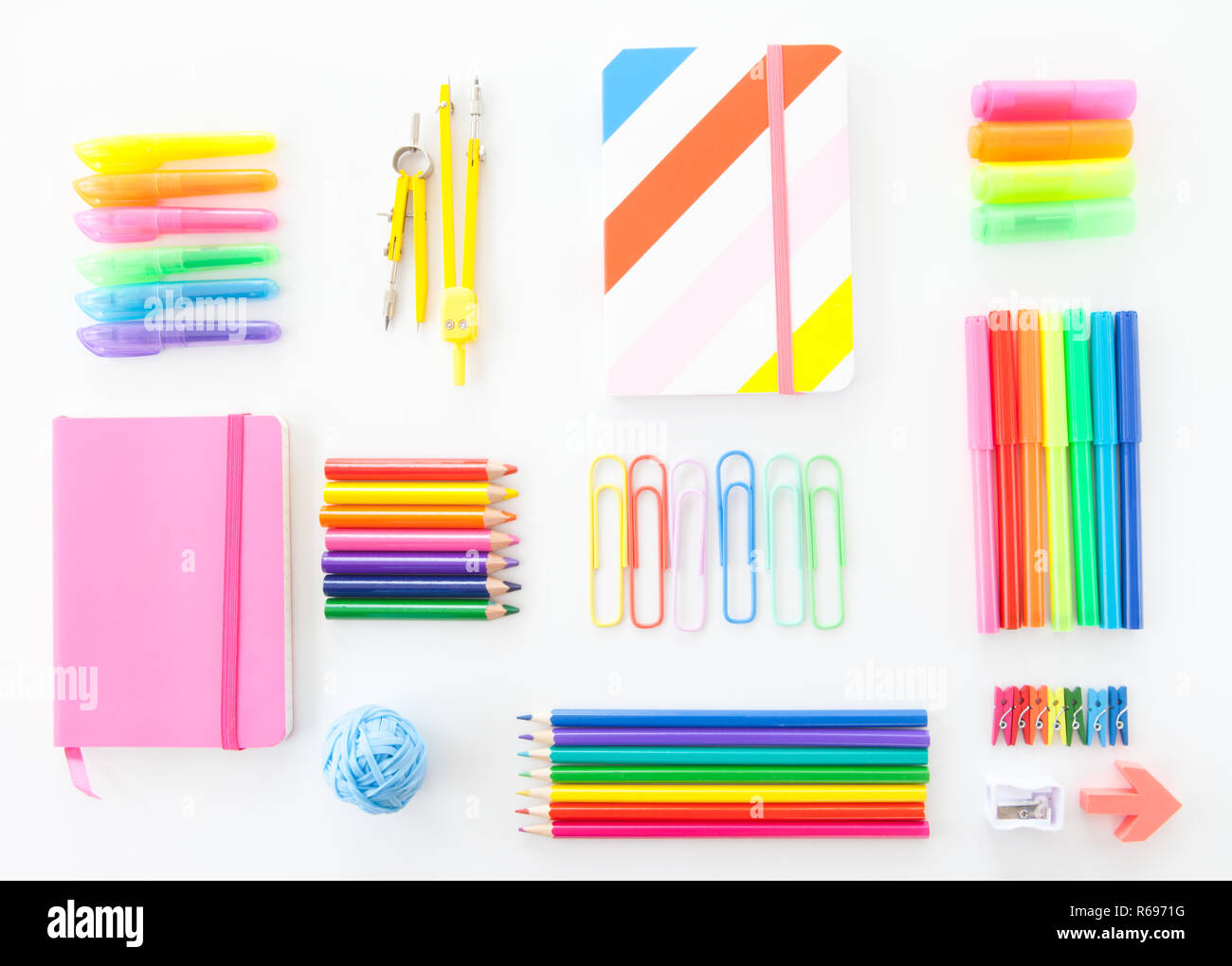 Colorful Office Supplies - Stock Image