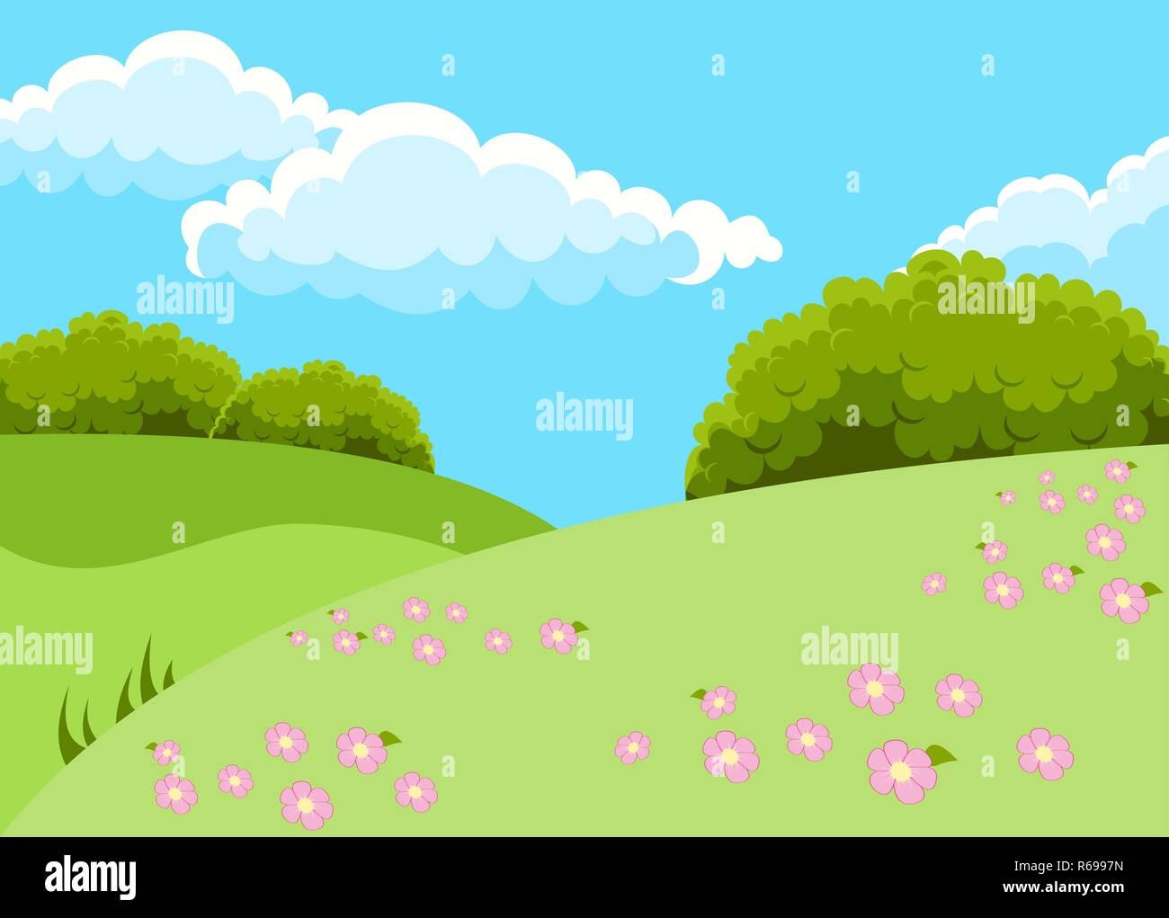 Vector Illustration Of Beautiful Fields Landscape With A