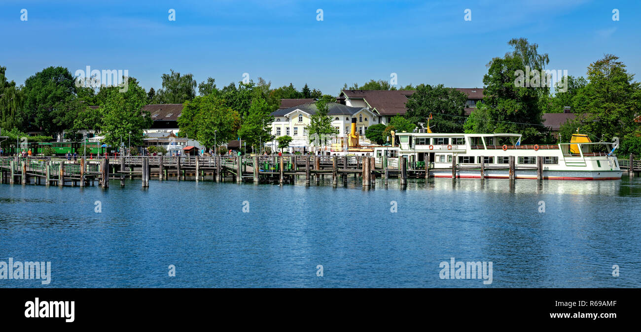Boat Feeder For The Excursion Boats In Prien Am Chiemsee Stock Photo