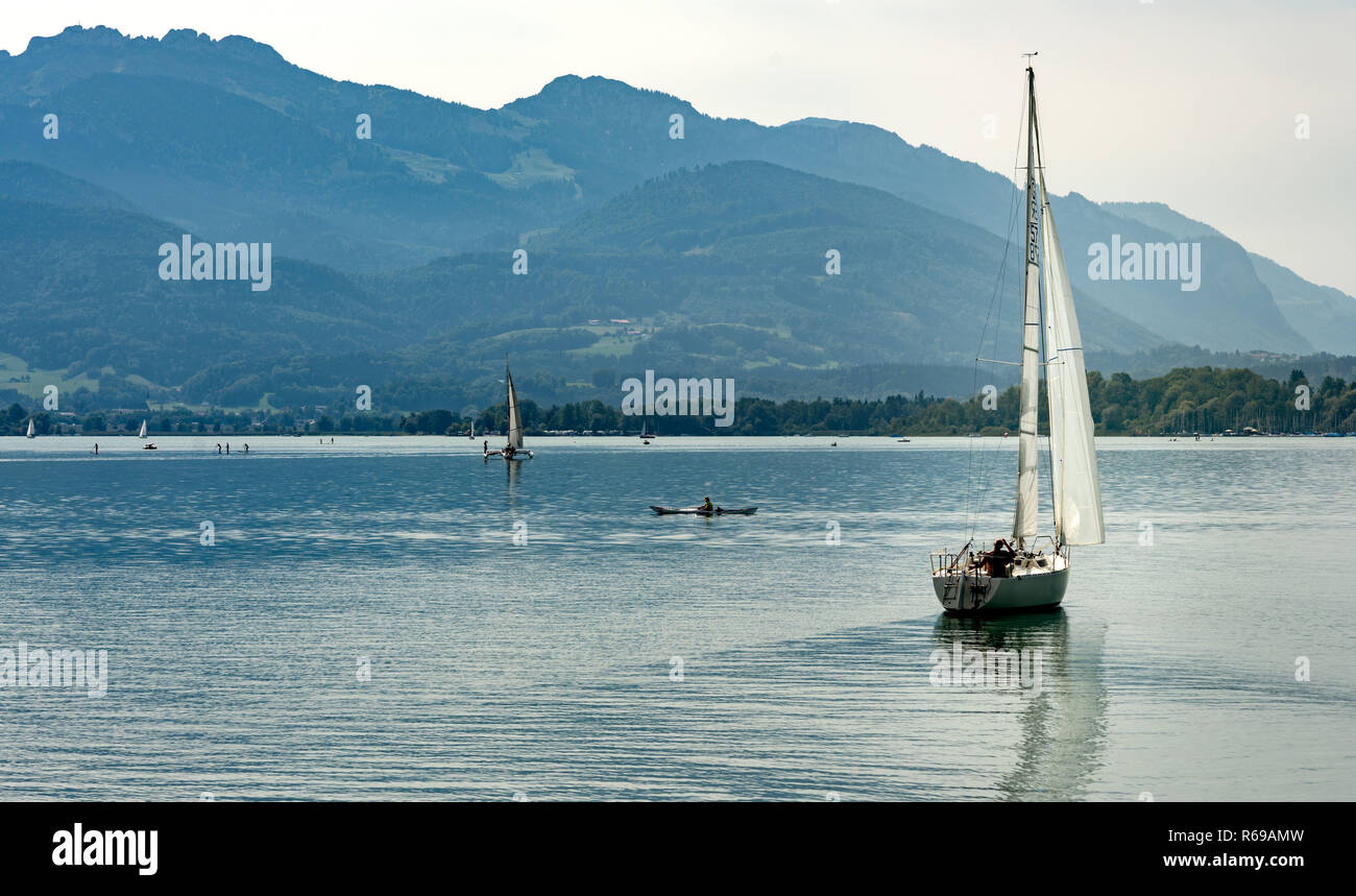 Sailboat On The Chiemsee In Bavaria Stock Photo