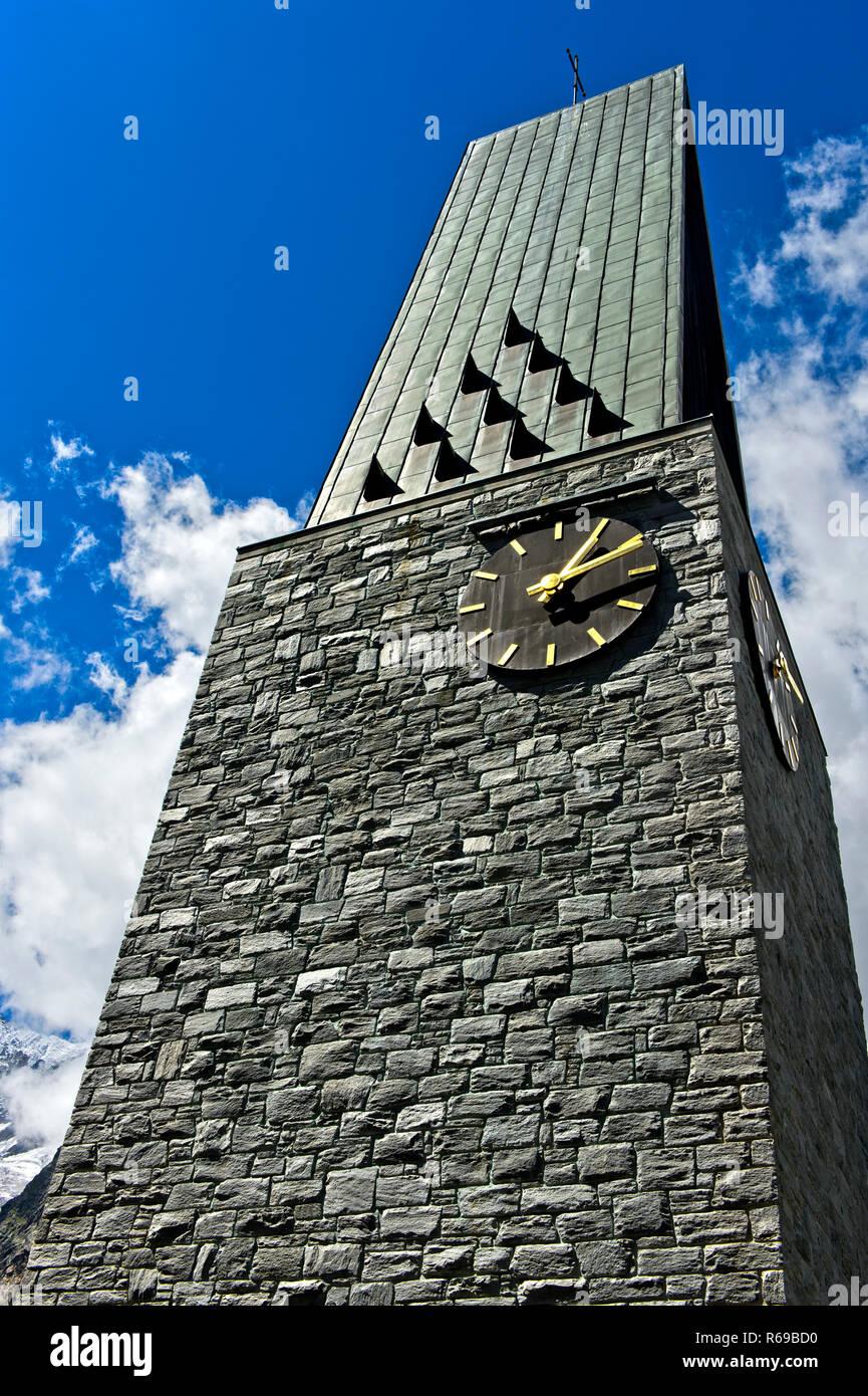 Herz-Jesu Church, Parish Church, Saas-Fee, Valais, Switzerland - Stock Image