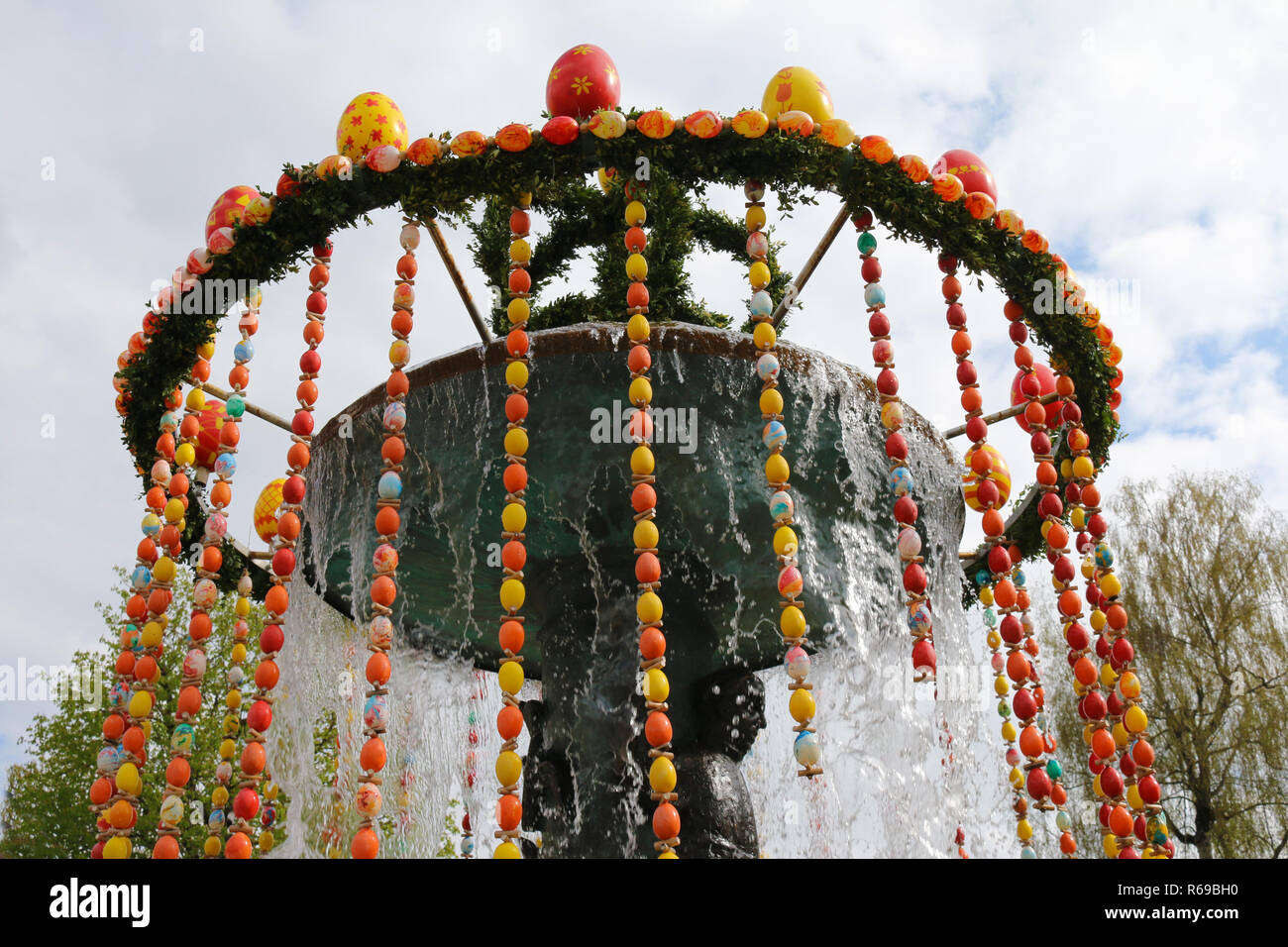 Fountain Decorated For Easter Stock Photo