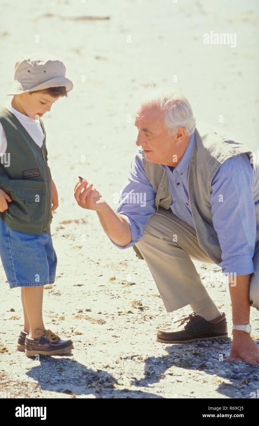 Portrait, Szene, Grossvater sucht mit seinem Enkel, 6 Jahre, bekleidet mit Sonnenhut, am Strand nach Kieselsteinen - Stock Image
