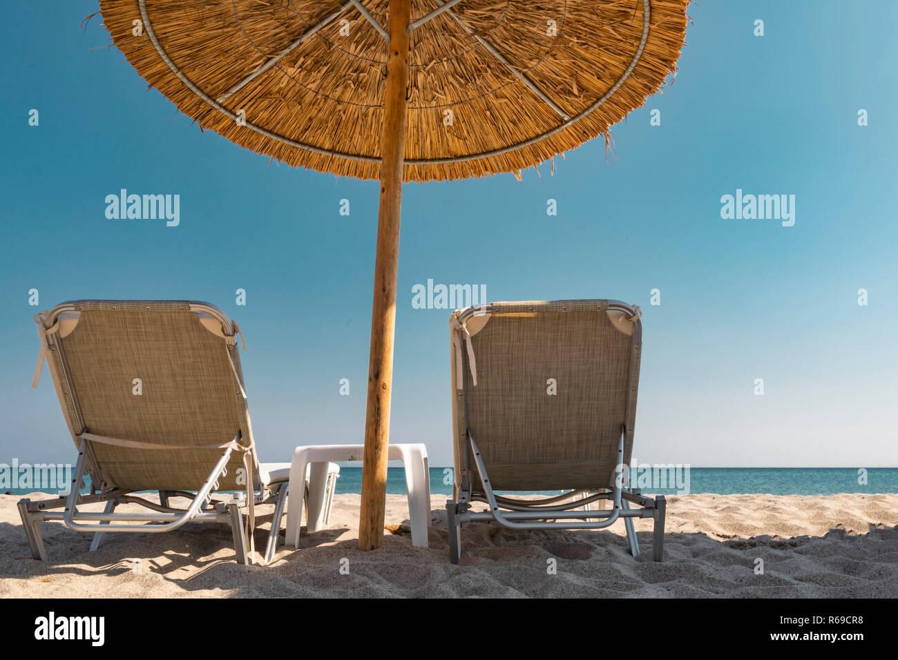 Remarkable Pair Beach Lounge Chairs Umbrella Stock Photos Pair Beach Inzonedesignstudio Interior Chair Design Inzonedesignstudiocom