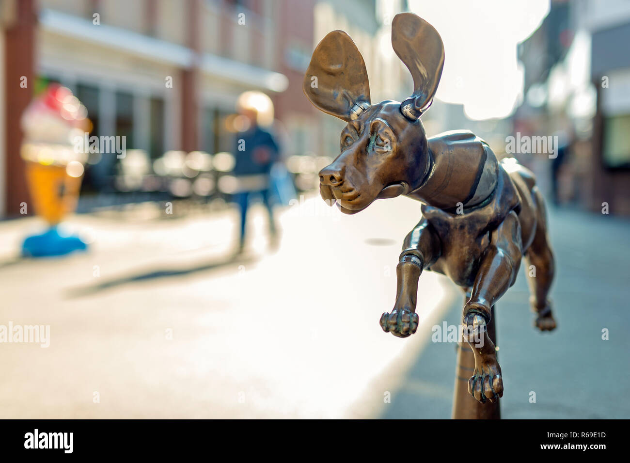 A Bronze Dog As Fountain Figure - Stock Image