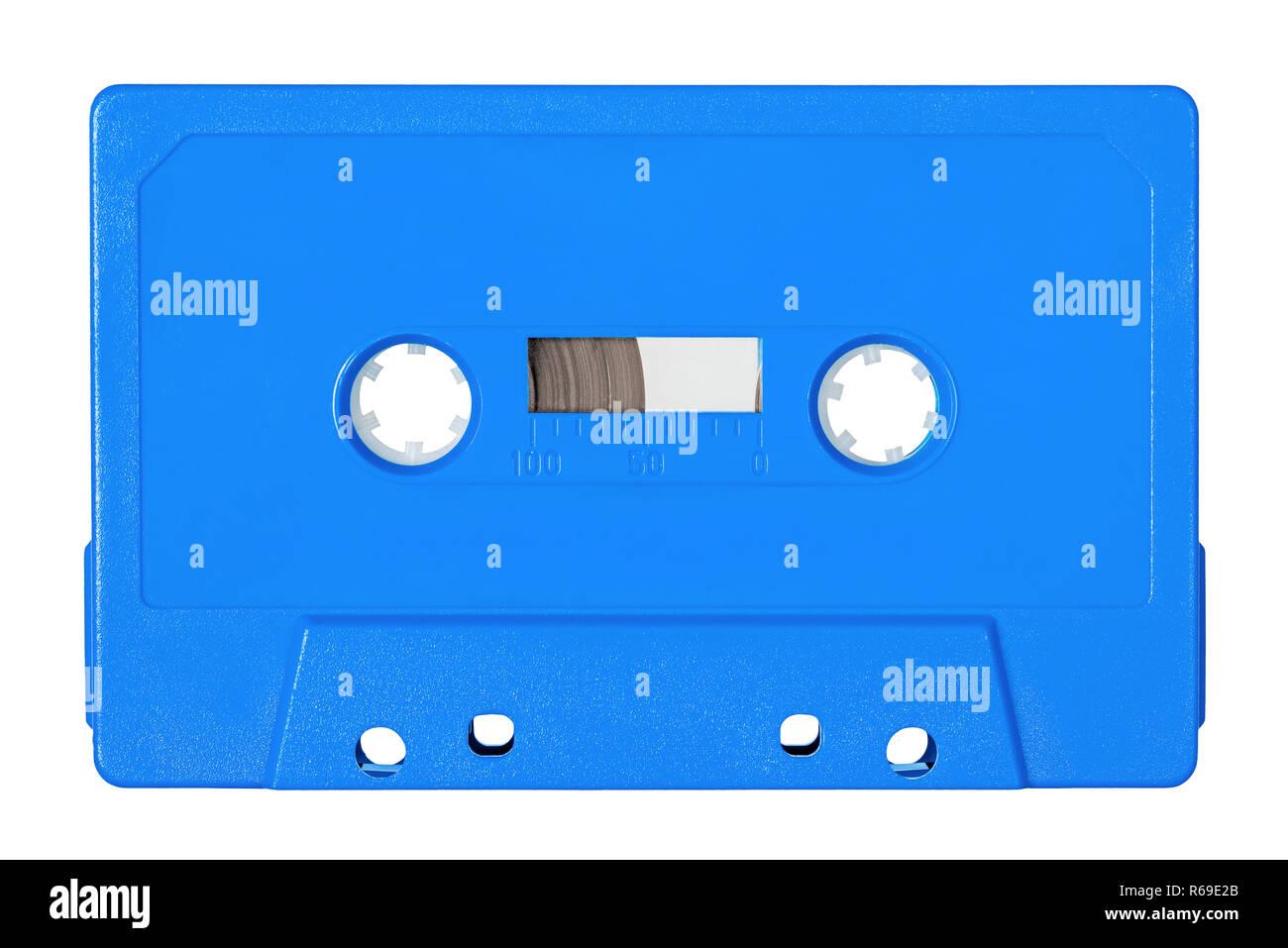 Retro bue audio tape isolated on white background Stock Photo