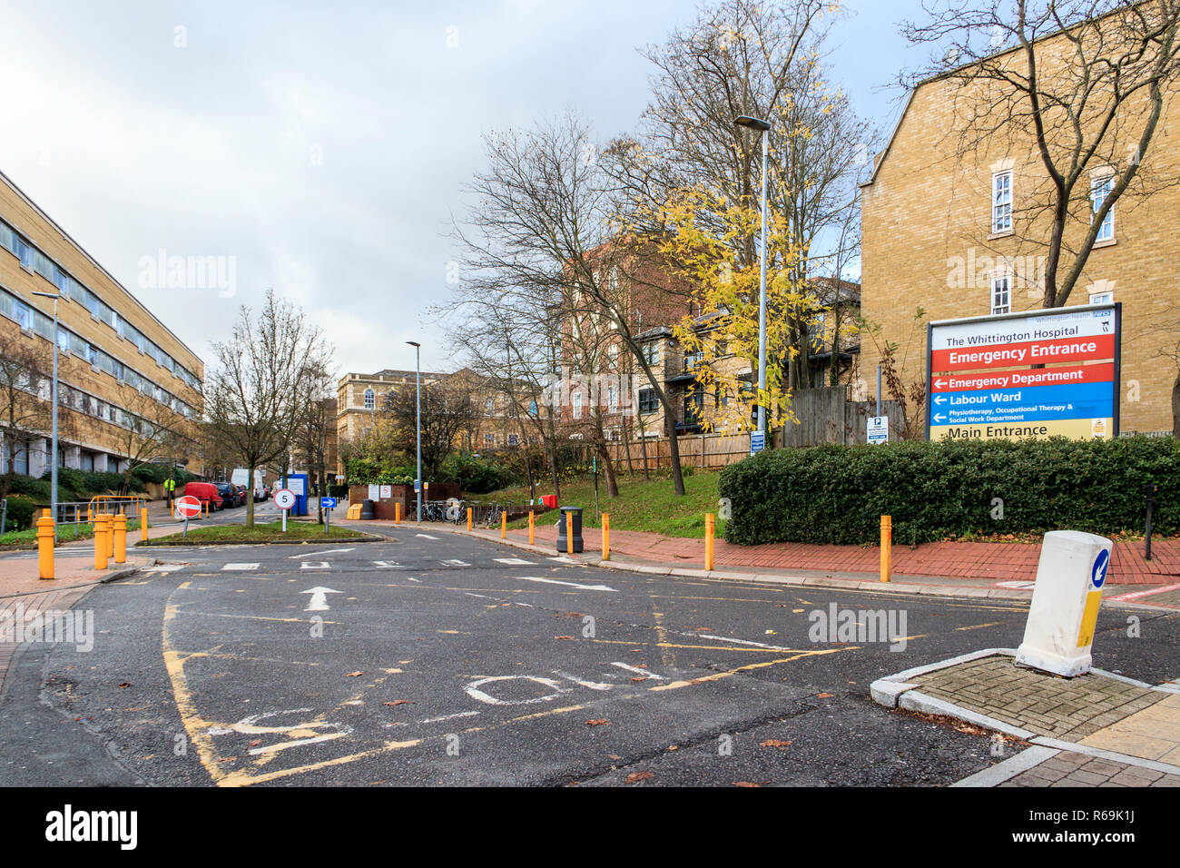 Entrance to the Emergency and Urgent Care departments  of the Whittington Hospital NHS trust on Highgate Hill, London, UK - Stock Image