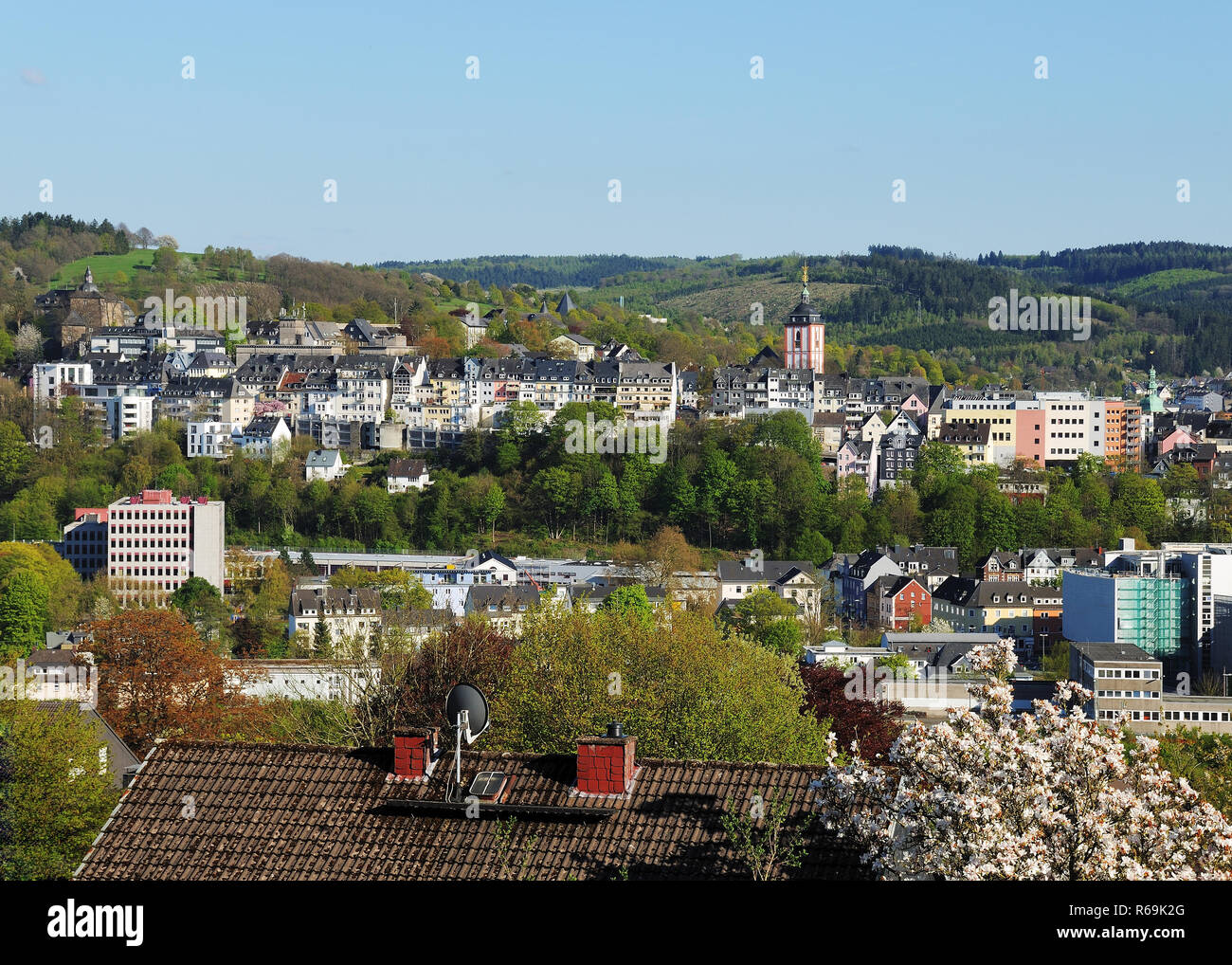 Historic City Center From Siegen City Panorama - Stock Image