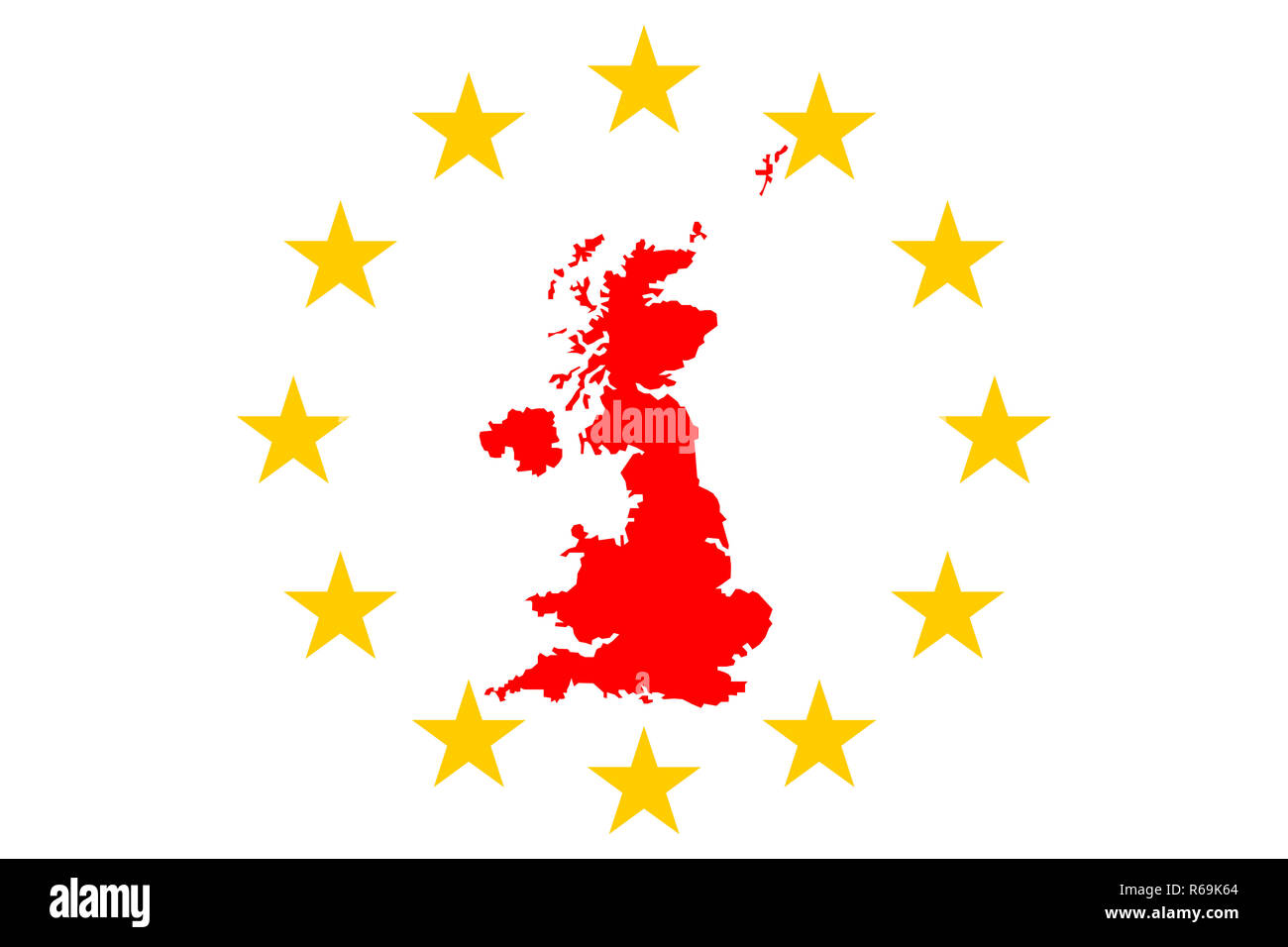 Brexit Great Britain Map With European Stars Circle - Stock Image
