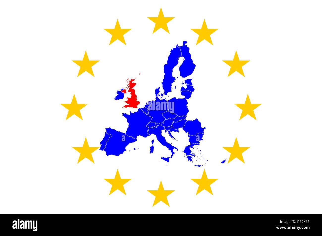 Brexit European Map With European Stars Circle - Stock Image