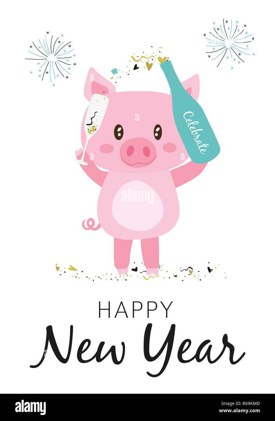 Happy New Year 2019 Greeting Card with sparkling pig Stock Photo