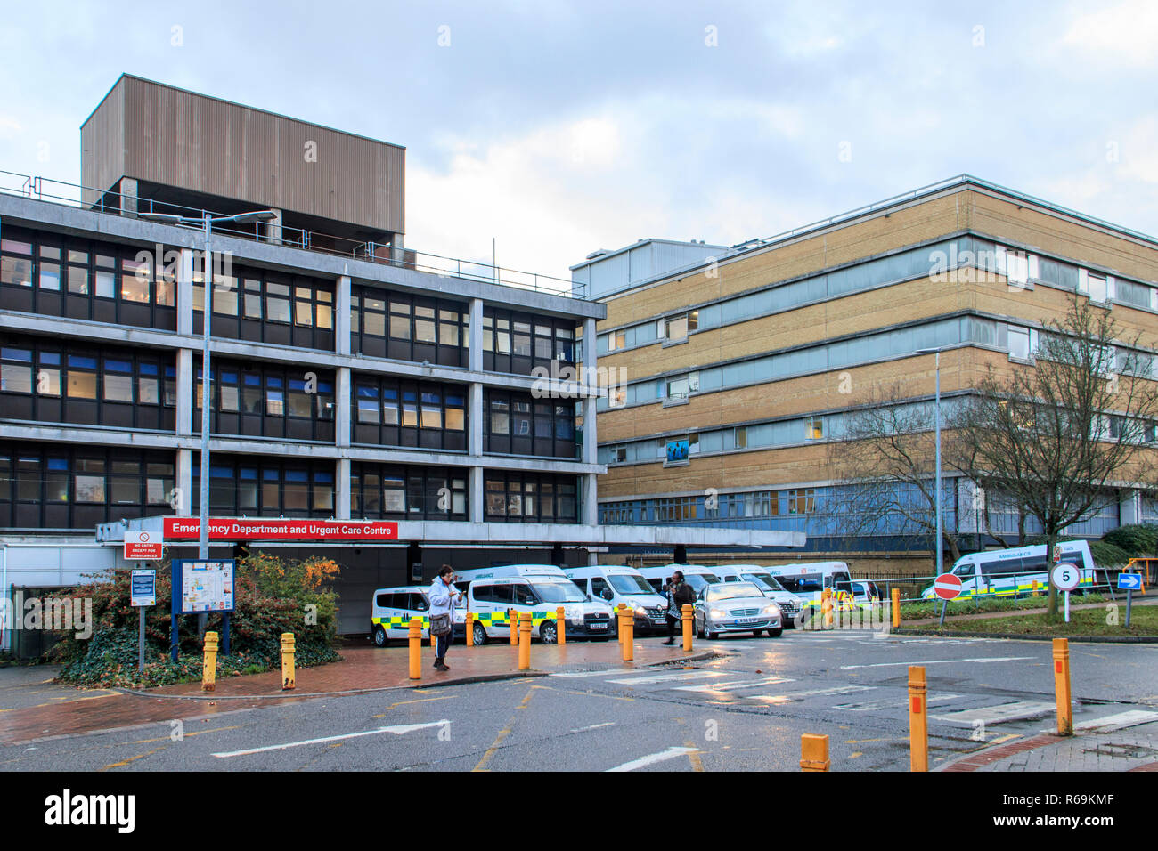 Emergency and Urgent Care departments  of the Whittington Hospital NHS trust on Highgate Hill, London, UK - Stock Image