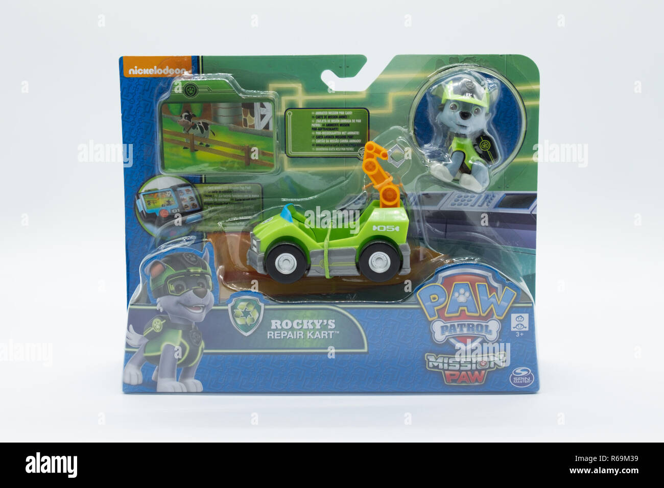 Largs, Scotland, UK - November 29, 2018: Nickelodeon branded Paw Patrol child's Toy in partially recyclable packaging in line with UK initiatives - Stock Image