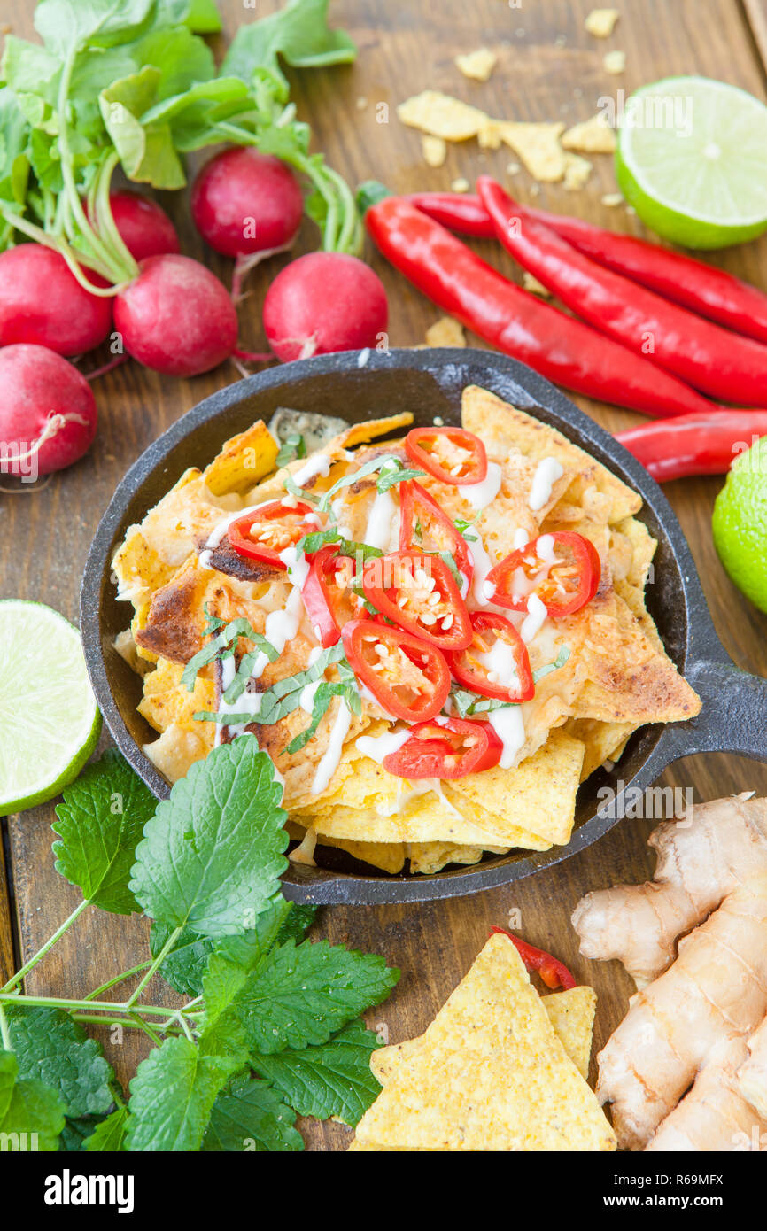 Spicy Nachos With Cheese - Stock Image