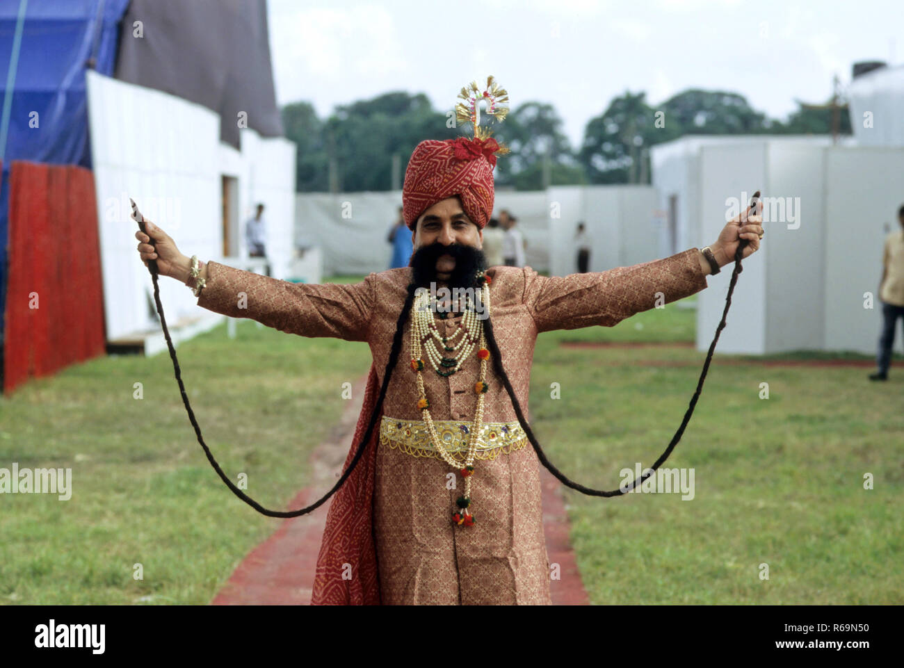 Longest Moustache in world, Ramsing Chauhan, Jaipur, Rajasthan, india NO MR - Stock Image