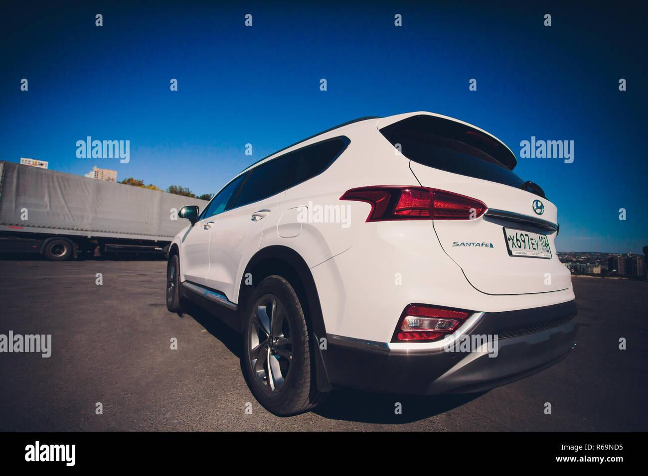 UFA, RUSSIA - 1 AUGUST 2018: Hyundai Santa Fe 2018 new suv car - Stock Image