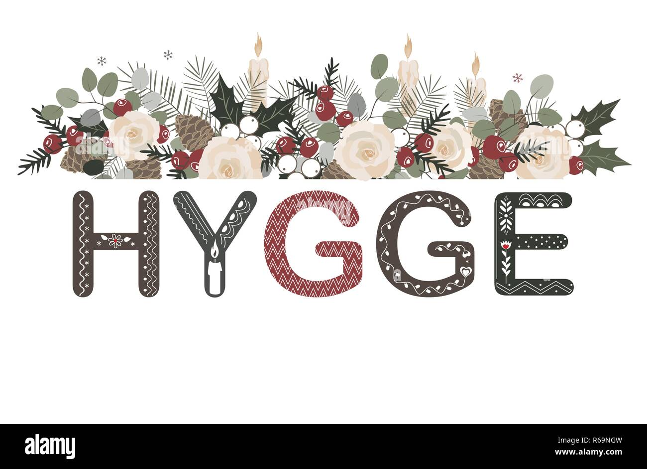 Hygge lettering with floral Christmas composition in cozy doodle style. - Stock Image