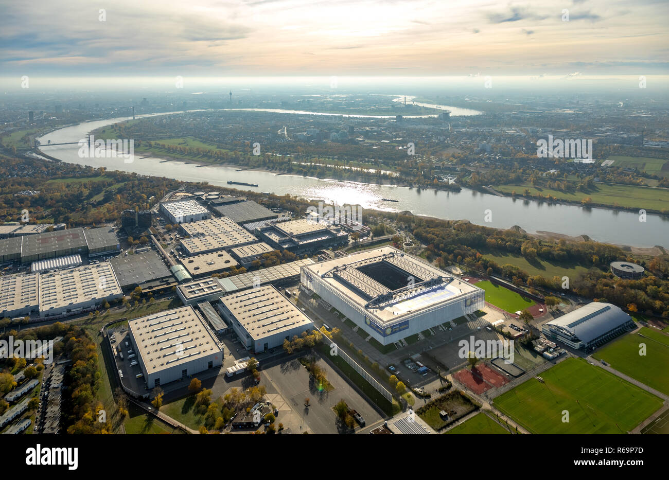 Aerial view, Merkur Spiel-Arena football stadium, Stockum, Düsseldorf, Lower Rhine, North Rhine-Westphalia, Germany - Stock Image