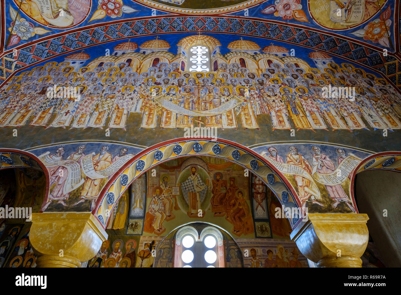 Wall painted with artistic frescoes, interior, cathedral St. Johannnes Vladimir, Hram Svetog Jovana Vladimira, bar, Montenegro - Stock Image