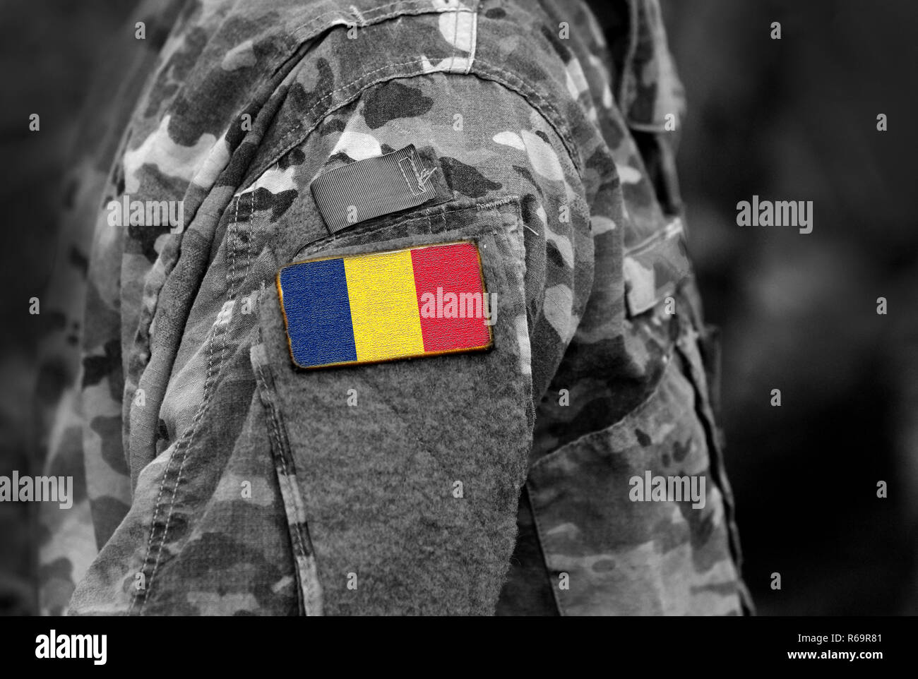 Flag of Chad on soldiers arm. Army, troops, military, Africa (collage), - Stock Image