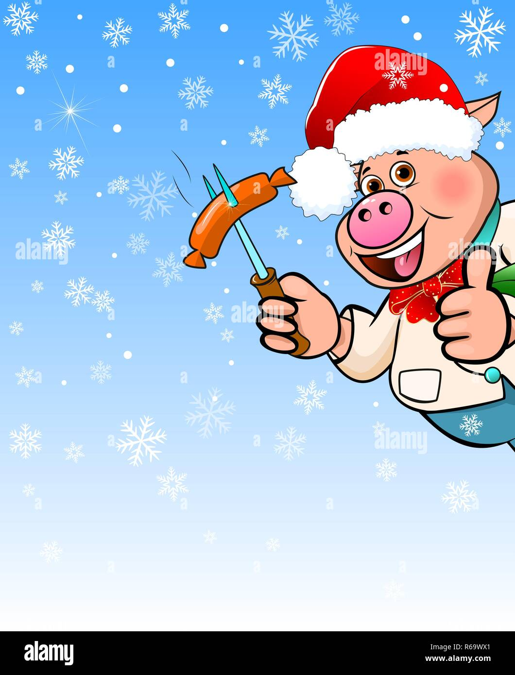 Cartoon pig in a hat Santa Claus holding a sausage barbecue in his hand. - Stock Image