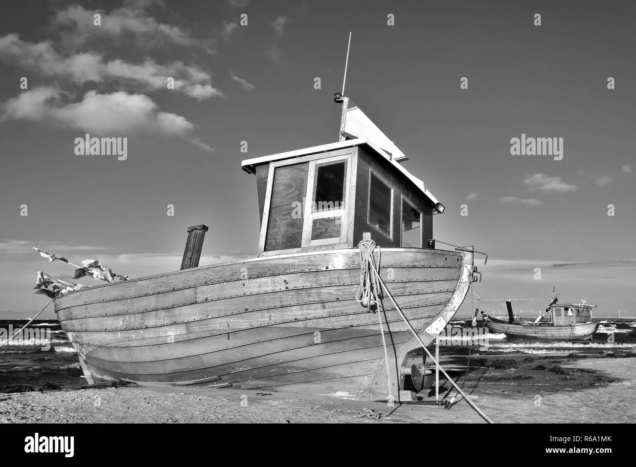 Fishing Boat At The German Baltic Sea Coast Stock Photo